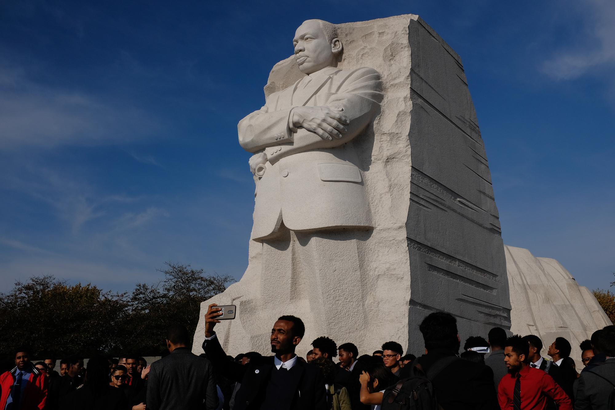 HBCU tour group at the Martin Luther King, Jr. Memorial, Washington, D.C.