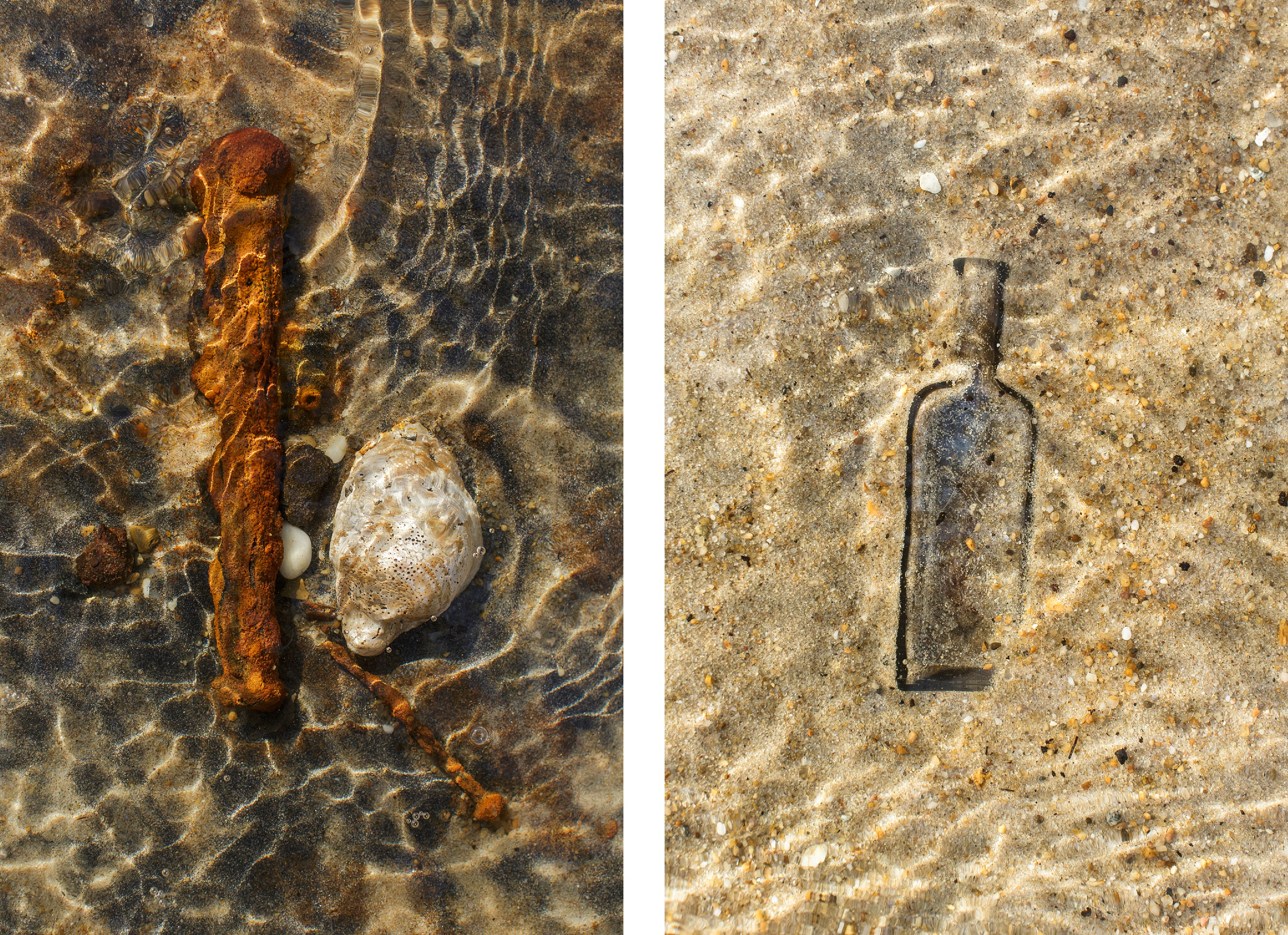 Uncovered by waves, nails from shipwrecks and an old McCormick Spice bottle from the 1800's in the sun-rippled shallows by the cemetery.
