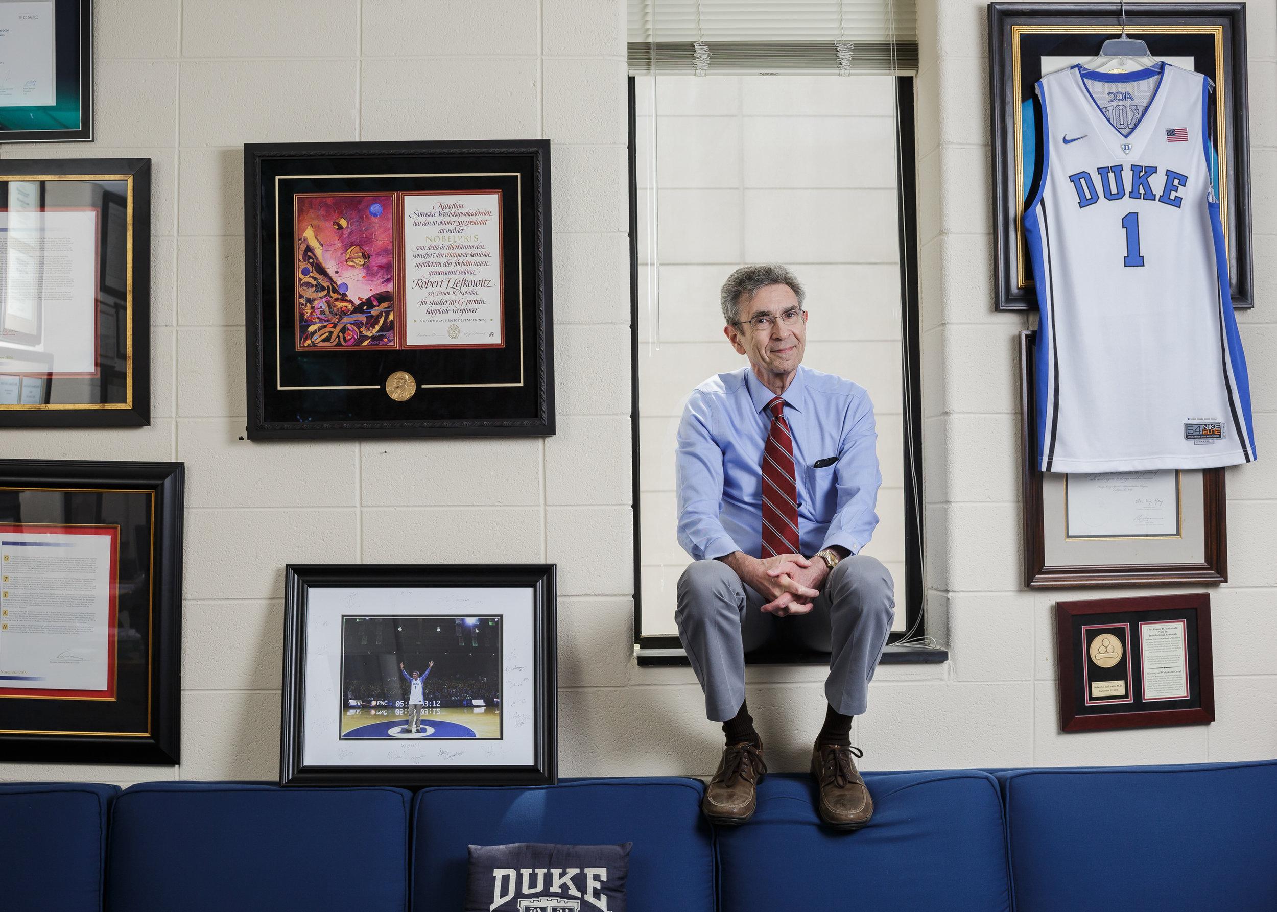 Dr. Robert Lefkowitz, M.D., James B. Duke Professor of Medicine at Duke University and 2012 Nobel Prize winner in chemistry. For Duke University.