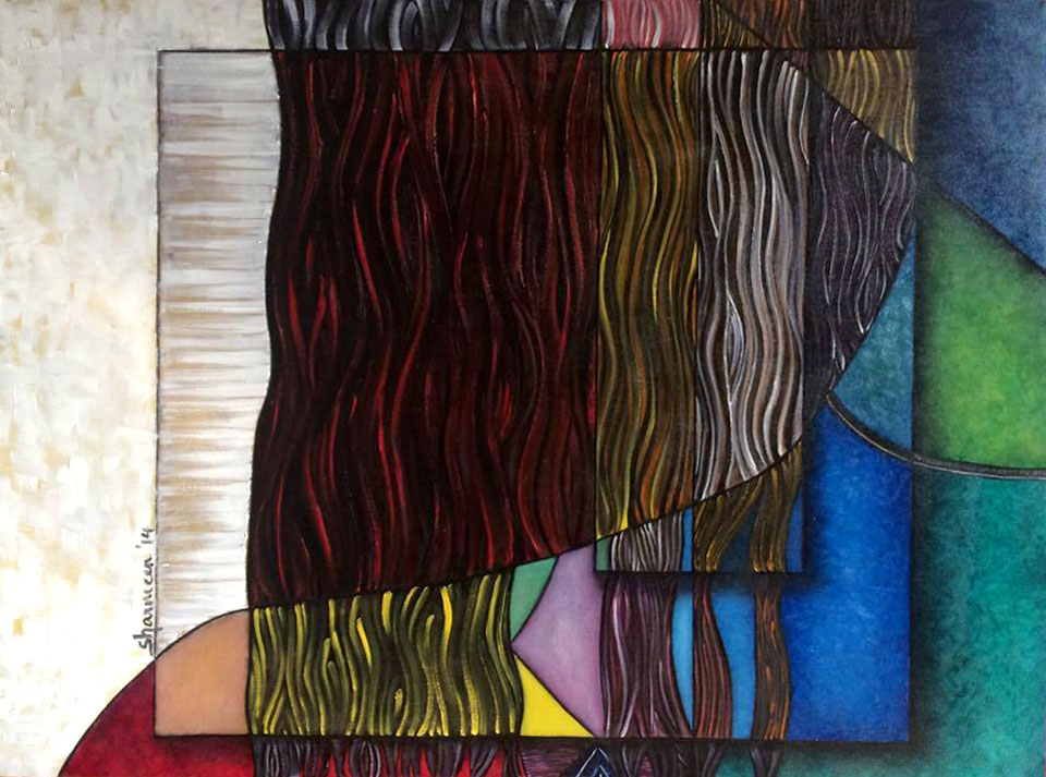 "RENOUNCE. Oil on Canvas. 35.5""x47.5"". 2014.  Something about brushing it off your shoulder..."