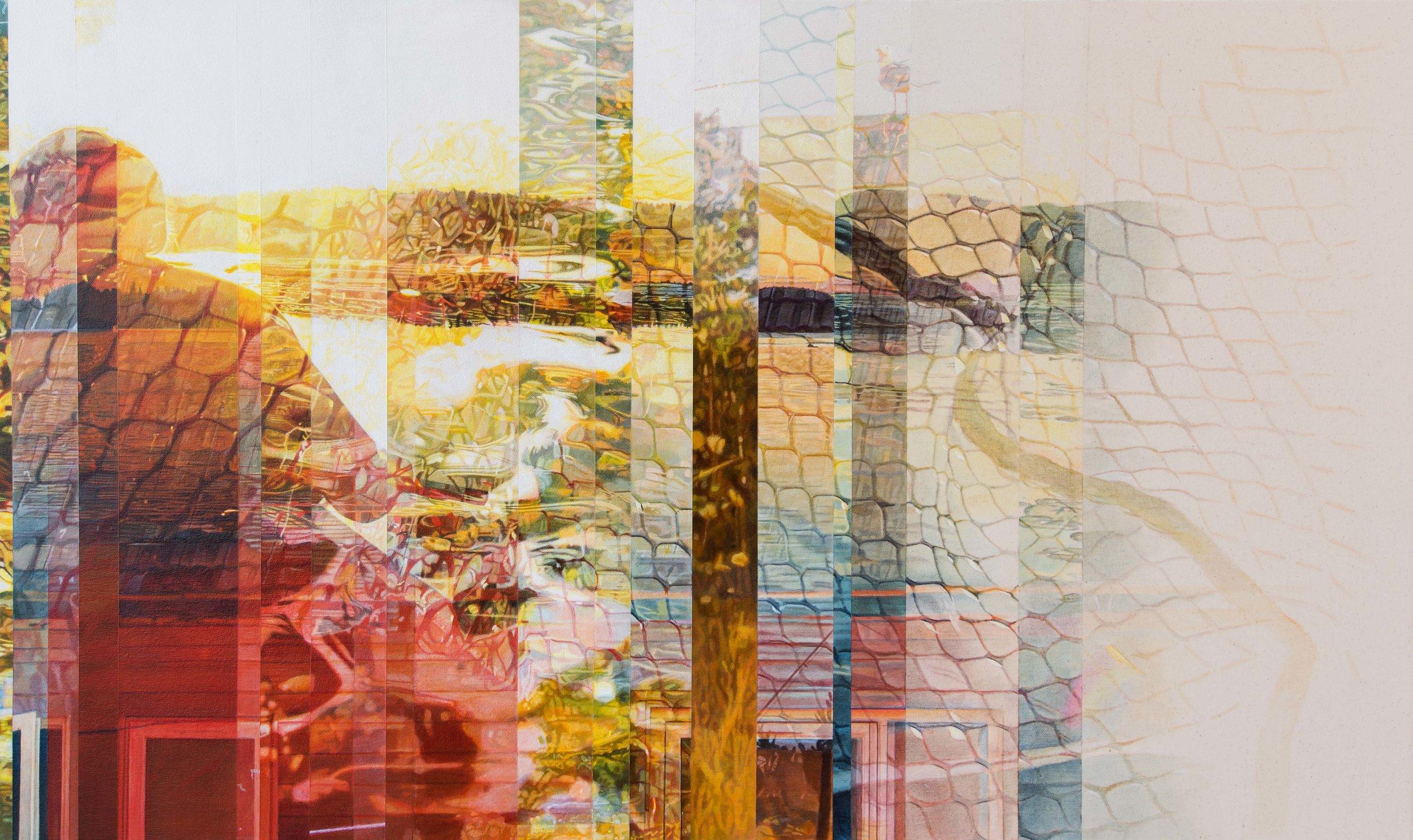 Volonté, hasard ou destin  Acrylique sur toile 24 x 40 pouces 2018 Collection privée Crédit photo: Donald Trépanier