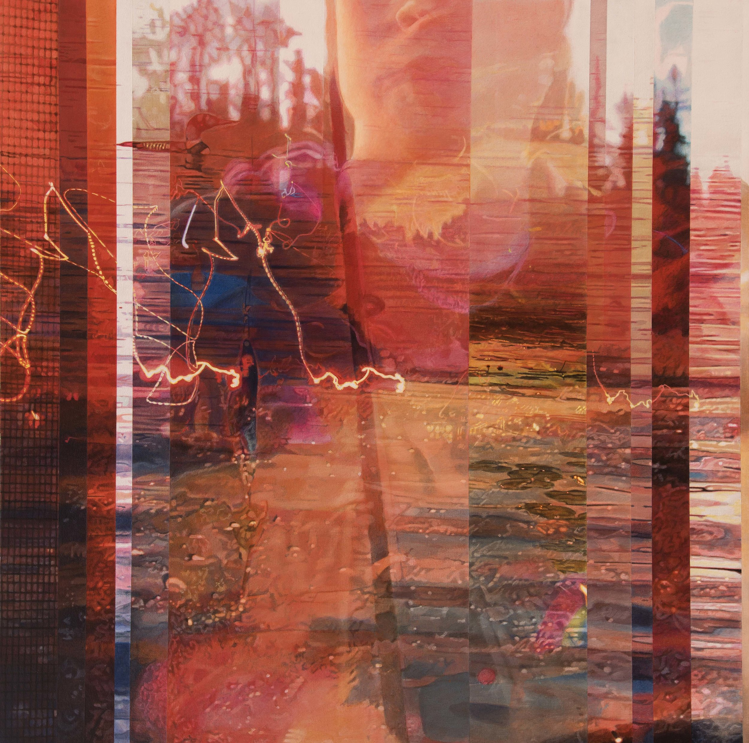 Si je me noie les pieds sur terre, pourrais-je marcher sur l'eau  Acrylique sur toile 30 x 30 pouces 2018 Collection privée Crédit photo: Donald Trépanier
