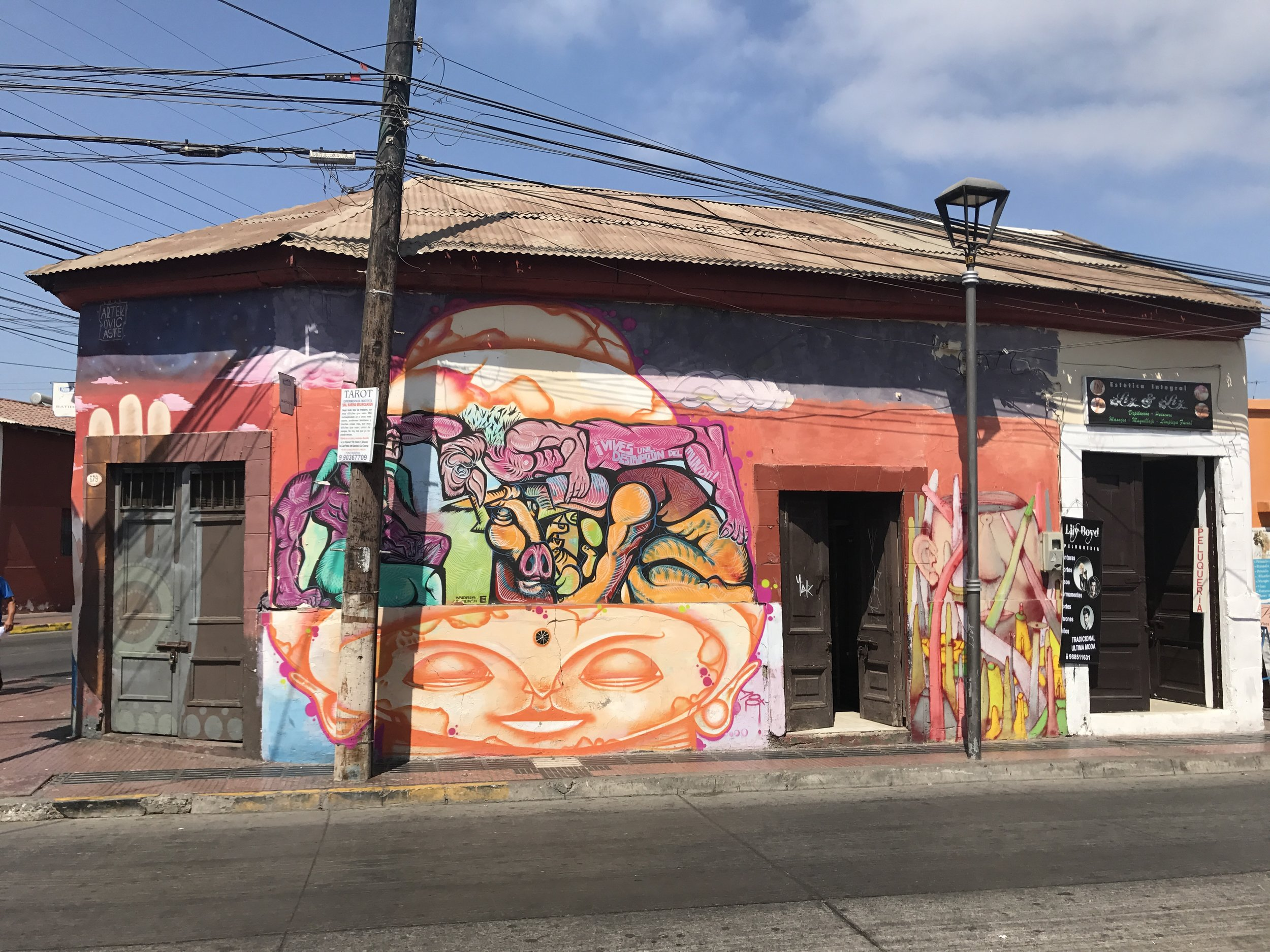 Just like Santiago, la Serena has tons of Graffitti - some of it quite loaded...