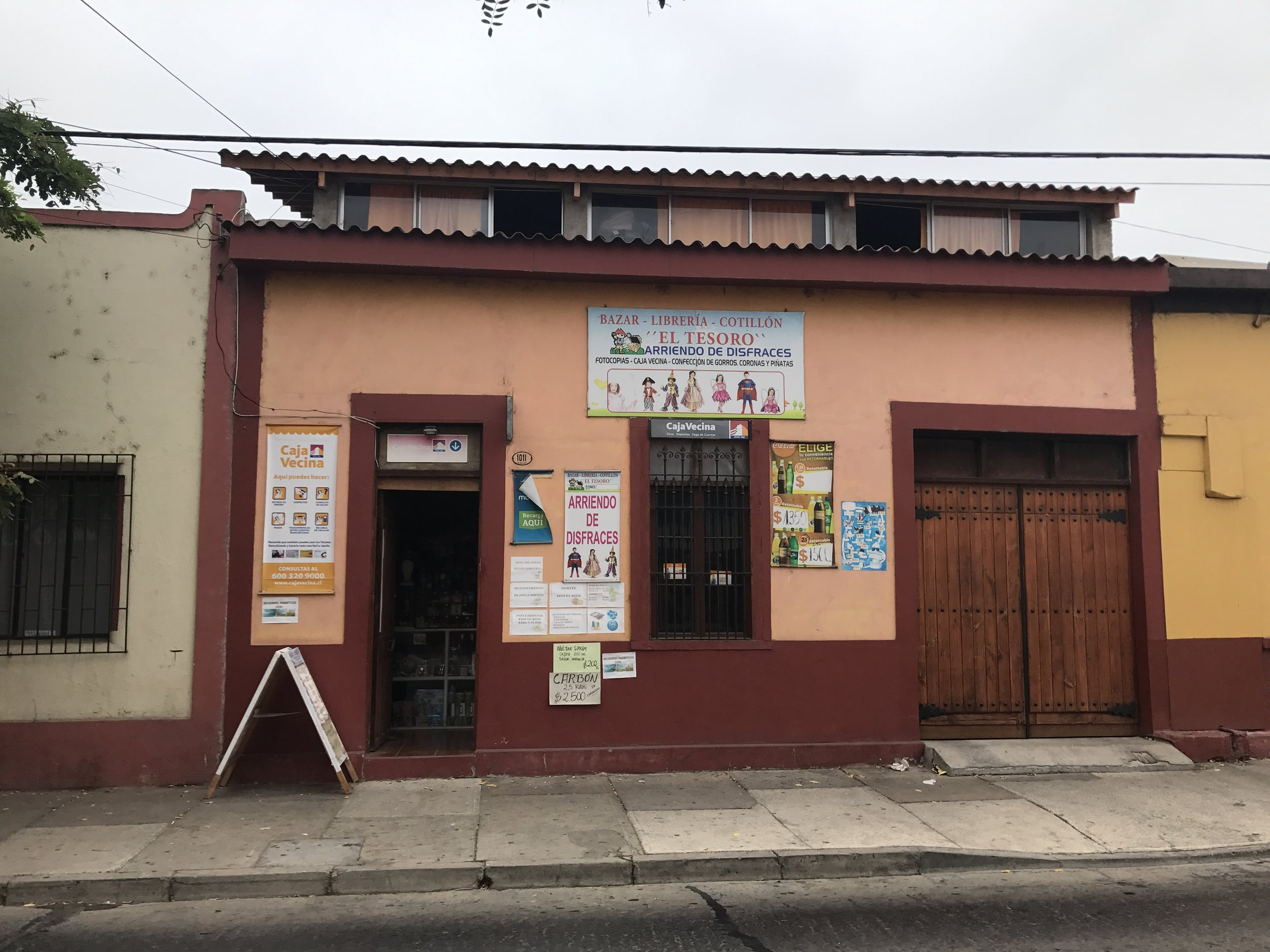 Arquitectura in La Serena is a mix of colonial and adobe style houses. This is a store that sells everything from books to children's costumes.