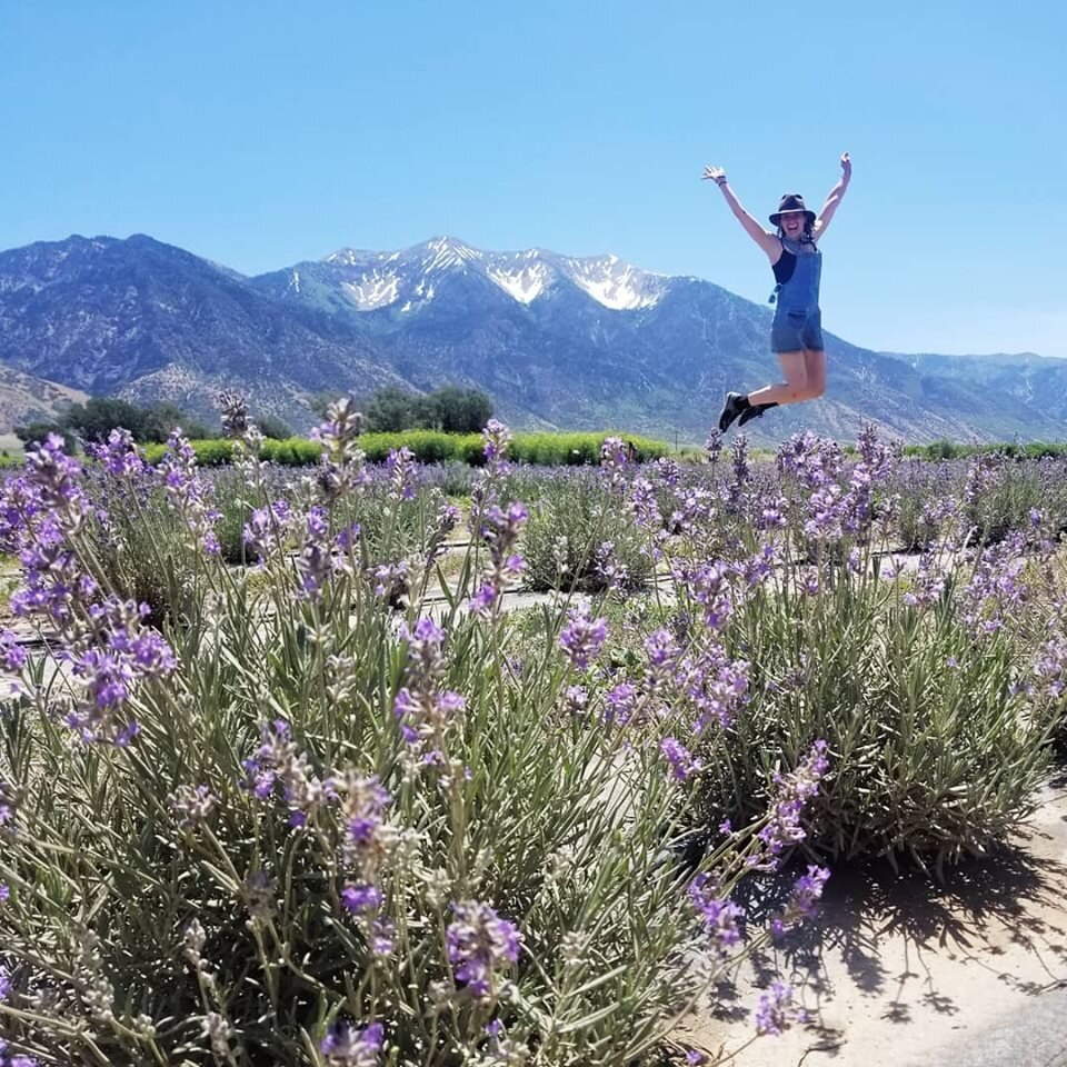 Doing the Lavender Leap at the Young Living Lavender Farm in Mona, Utah. So fun!