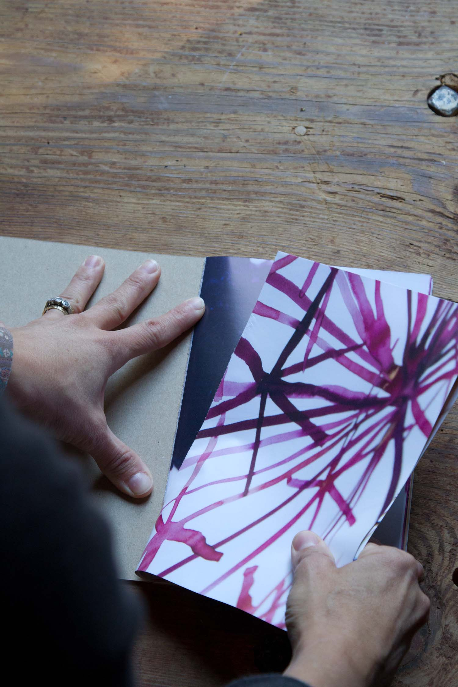 ...then, each diptych can be torn out of the book, due to its glue-bound construction....