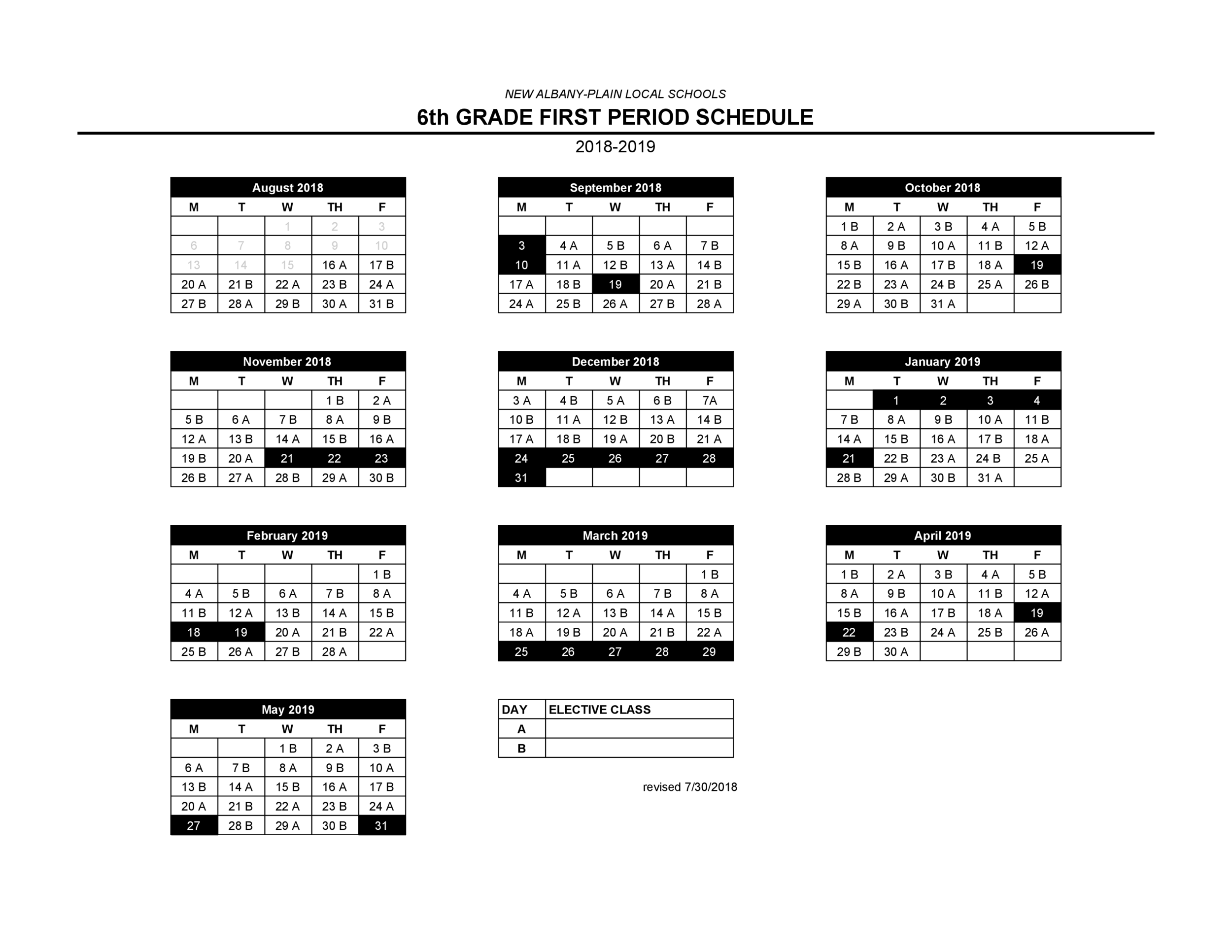 2018-2019 6th Grade Letter Day Schedule.png