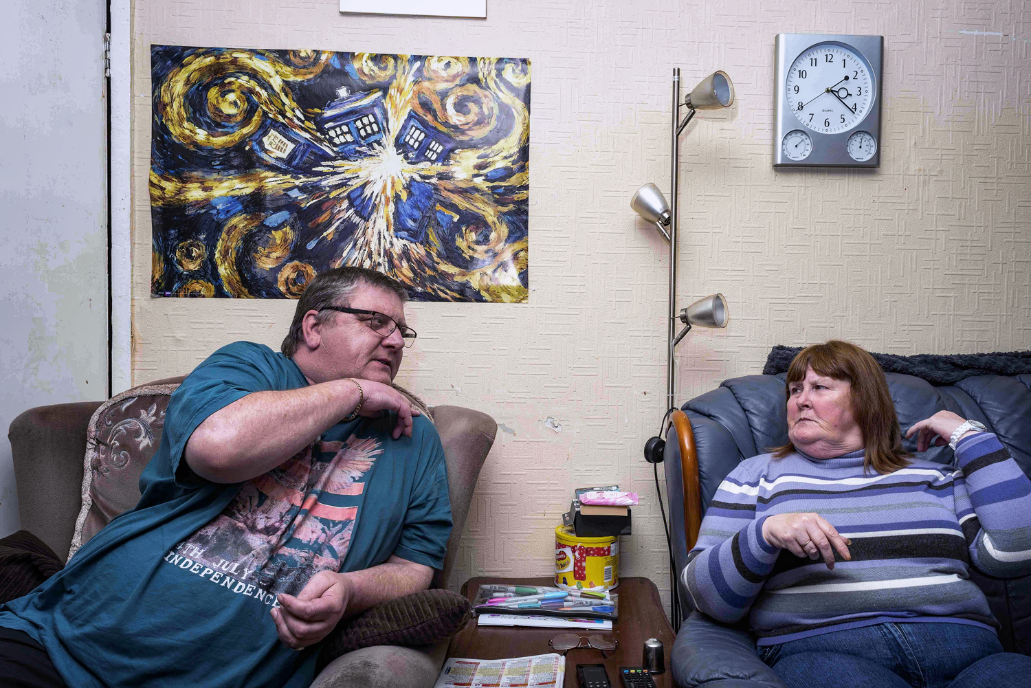 """Benefits.   Dave and Cath O Dowd. We were sat right here where we are now, watching coronation street when one of the Dickson's knocked on the door before the police arrived. I answered the door to a voice which said """"Your Craig's dead""""."""