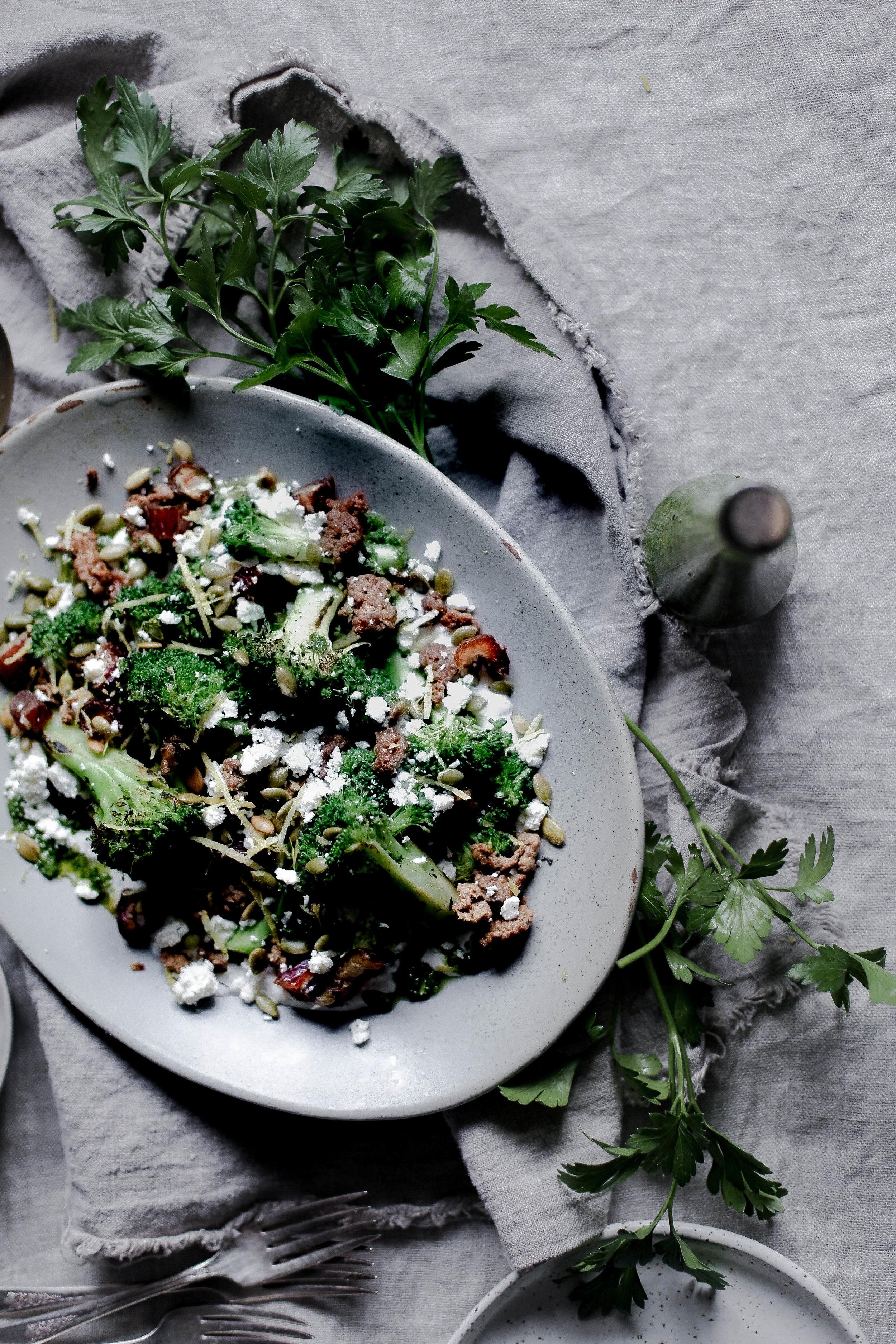 charred broccoli and chorizo with lemon shallot yogurt and jalapeno herb oil (5 of 1).jpg