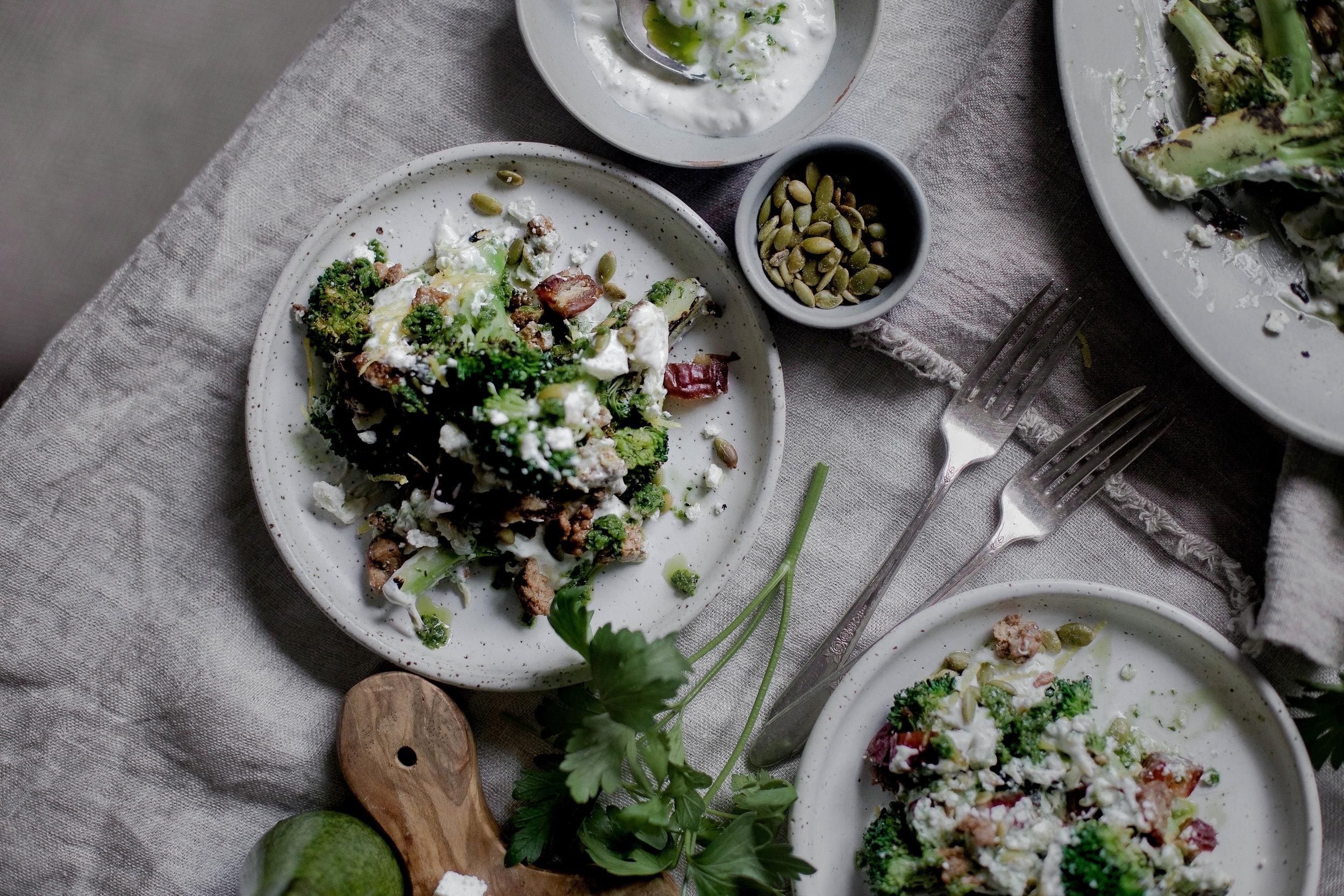 charred broccoli and chorizo with lemon shallot yogurt and jalapeno herb oil (15 of 1).jpg