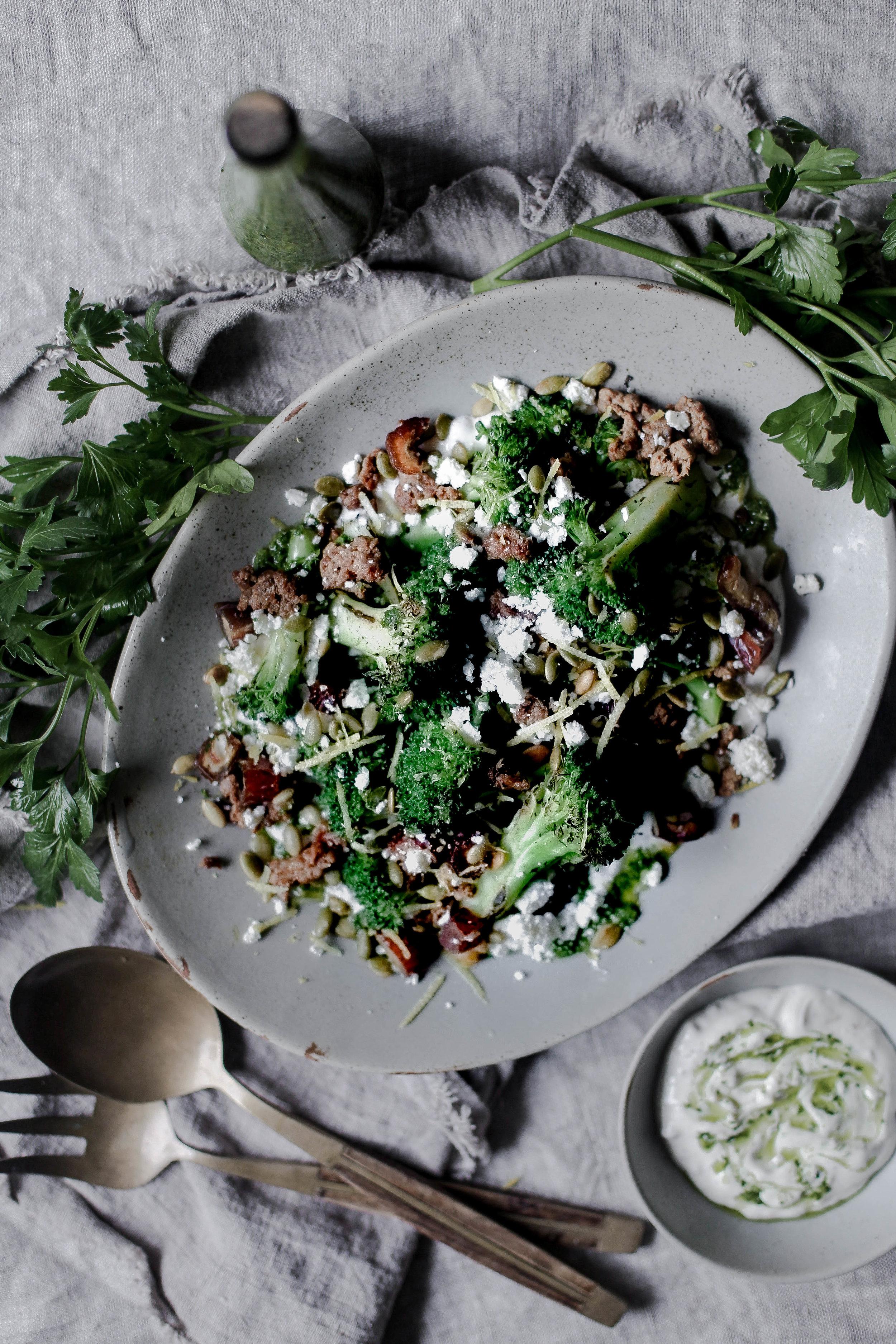charred broccoli and chorizo with lemon shallot yogurt and jalapeno herb oil (3 of 1).jpg