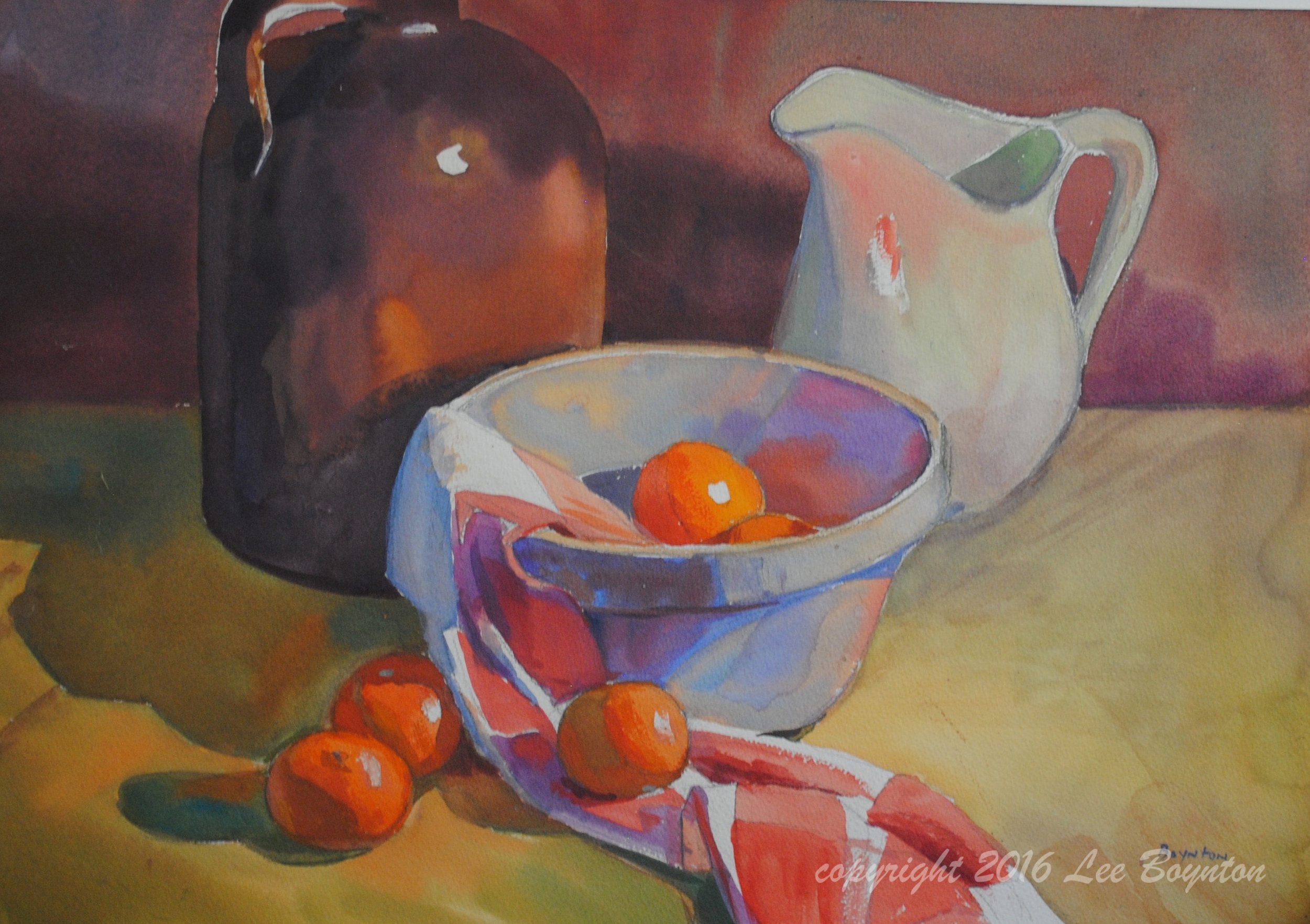 Blue Bowl, Brown Jug, 14x20