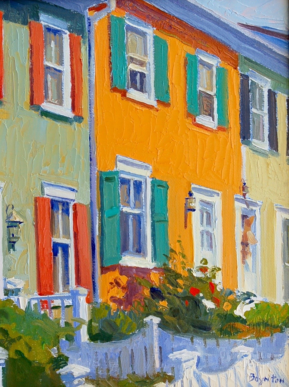 Sunlight on Houses,  plein air oil painting by Lee Boynton       Turn and turn, Till we turn 'round right.       From   Freedom of     Simplicity   by Richard J. Foster:  Simplicity is a grace. It is given to us by God. There is no way that we can build up our willpower, put ourselves into this contortion or that, and attain it. It is a gift to be generously received... It slips in unawares.  A new sense of wonder, concentration, even profundity steals into our personality. We change our lifestyle.  Simplicity is also a discipline.  It is a discipline because we are called to do something. Simplicity involves a consciously chosen course of action involving both group and individual life. What we do does  not  give us simplicity, but it does put us in the place where we can receive it.  It sets our life before God in such a way that He can work into us the grace of simplicity.