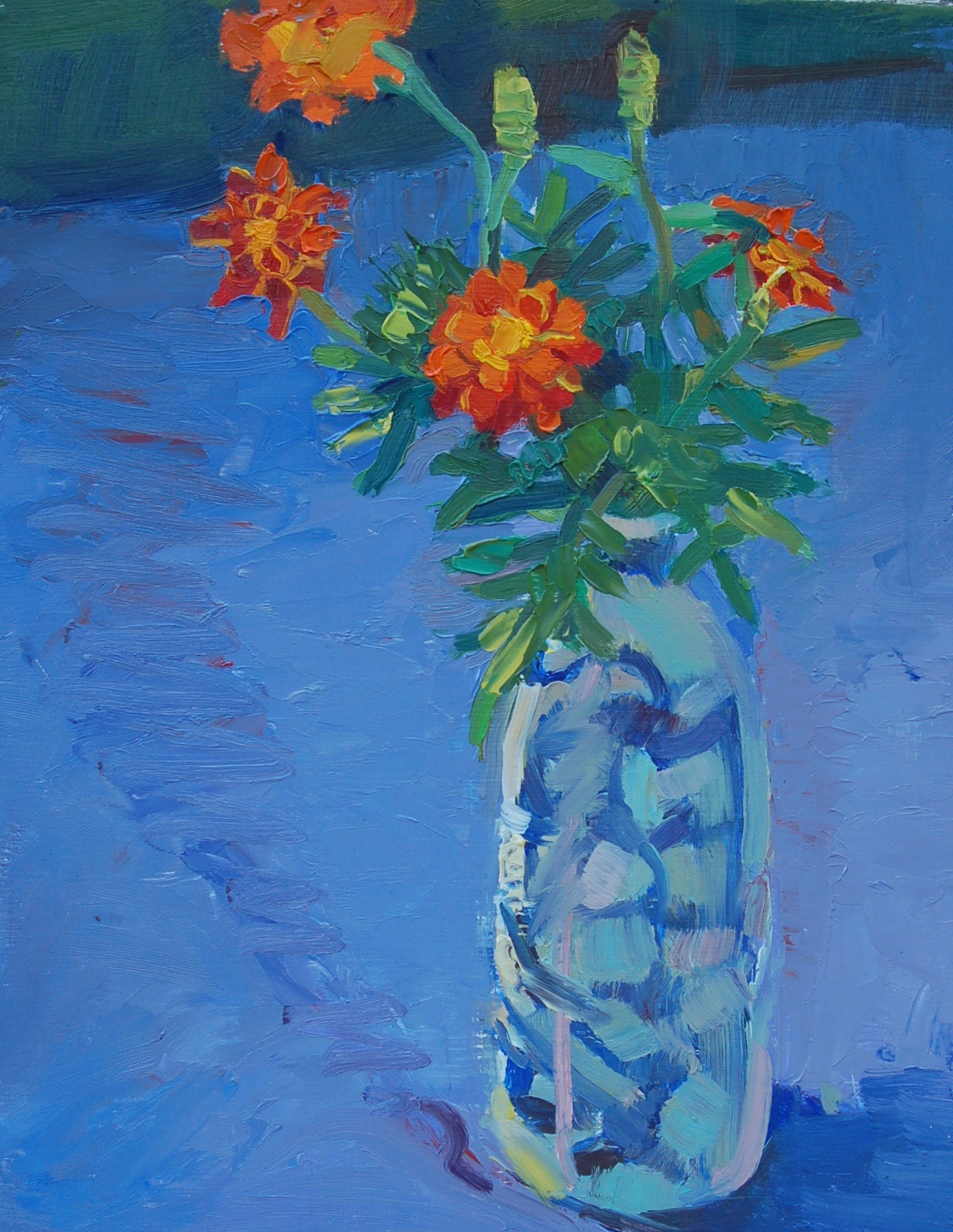 Marigolds, oil painting by Margie Boynton     Psalm 19:7-19  (NIV)   The law of the Lord is perfect,      reviving the soul.     The statutes of the Lord are trustworthy,       making wise the simple.     The precepts of the Lord are right,       giving joy to the heart.     The commands of the Lord are radiant,       giving light to the eyes .    The fear of the Lord is pure,       enduring forever.     The ordinances of the Lord are sure and altogether righteous.     They are more precious than gold,       than much pure gold:     They are sweeter than honey,       than honey from the comb.