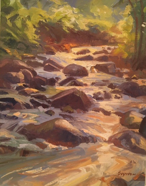 Watersong,  Bedford, VA, Pleinair oil painting by Lee Boynton