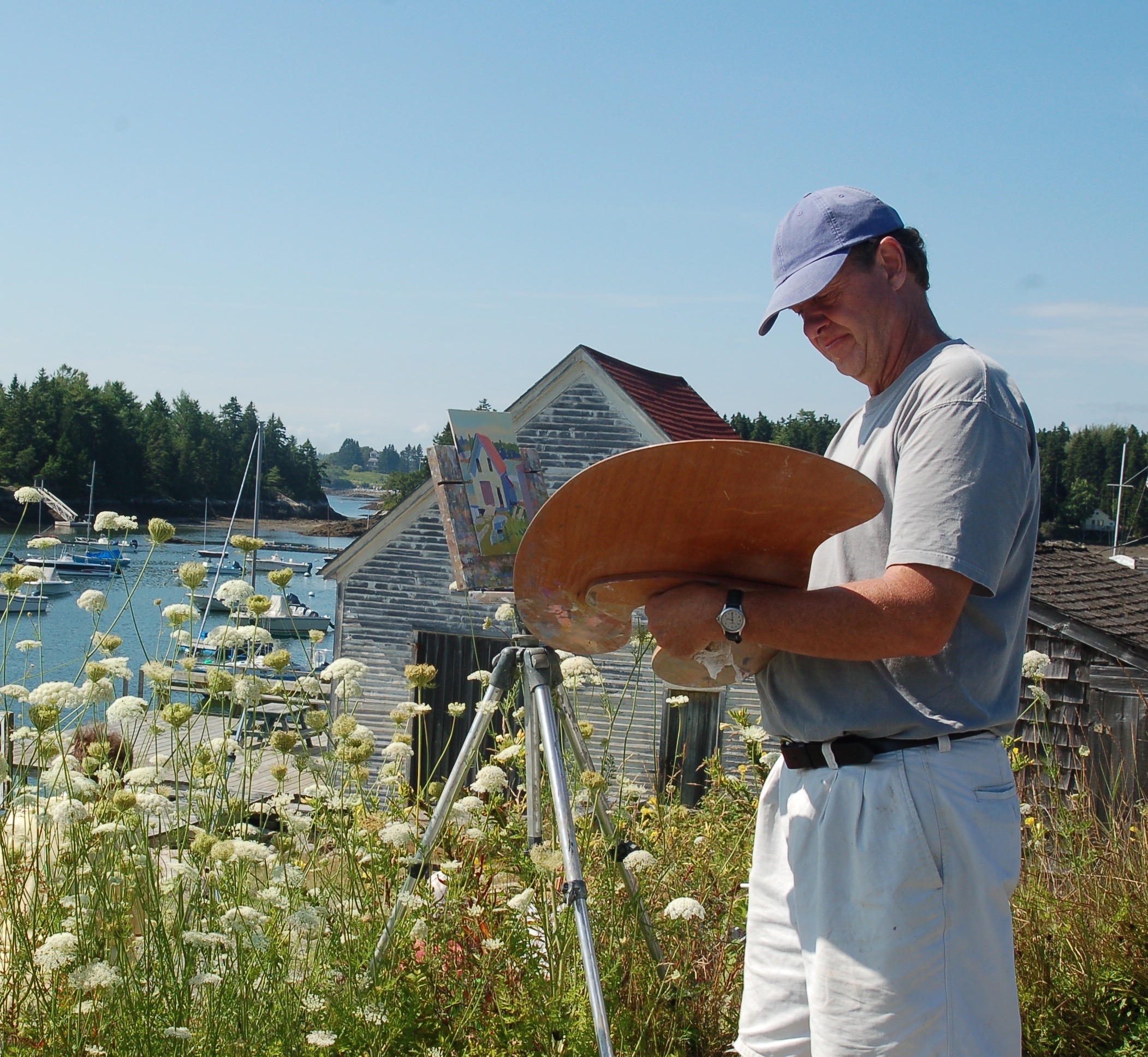 Lee painting on Southport Island, Maine