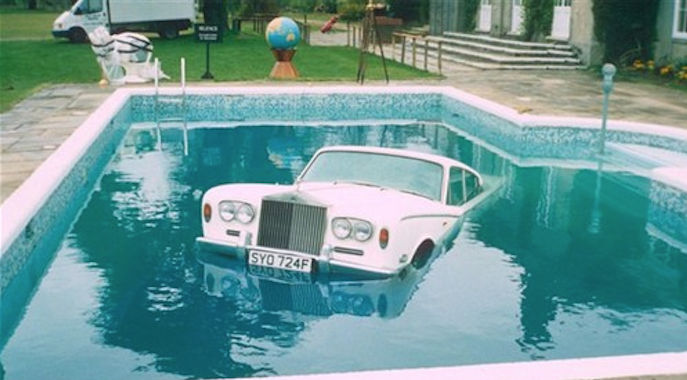 Keith's Rolls he drove into his swimming pool.