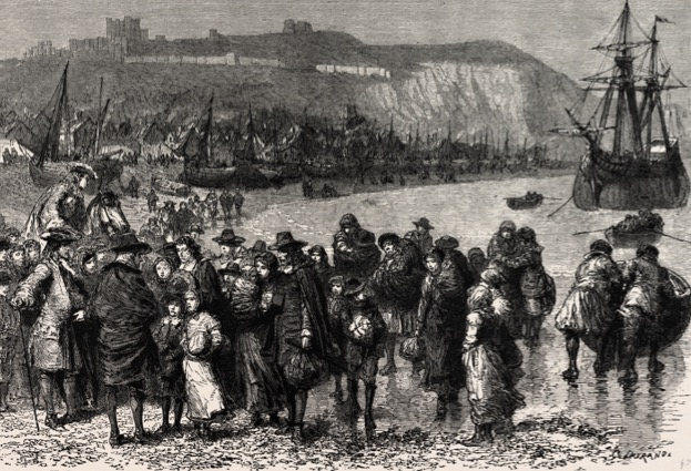 FRENCH HUGUENOTS LANDING IN DOVER, ENGLAND.