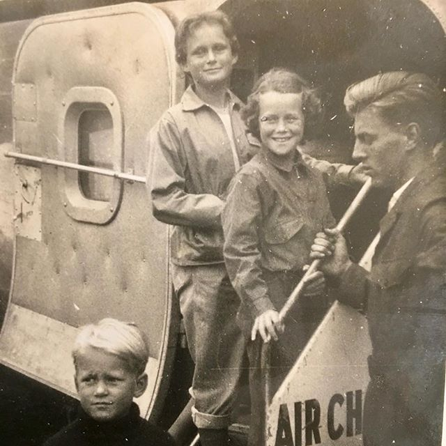 THE FIFTIES. On our way to St Tropez in my Uncle's plane ( an old Bristol carrier), dressed in our British summer clothes. Raining, of course. I'm the one in the middle.  #sttropez #bristolcarriers #bks #summerholiday #southoffrance #thefifties #windbreakers #carintheplane #englishchannel #mistakesweremade #booksaboutfrance #frenchromance #unclemike