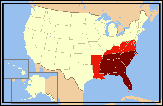 These are primarily the states we do business with. Have an order needing to get place outside this region? Give us a call at (800) 248-2099 to see what we can do for you!