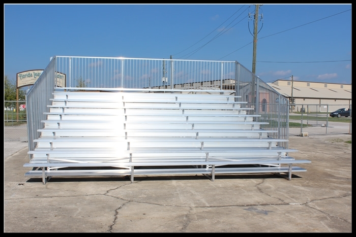 10 Row  Non-Elevated Aluminum Bleacher (w/o aisle)   Click here for free, printable CAD drawings!