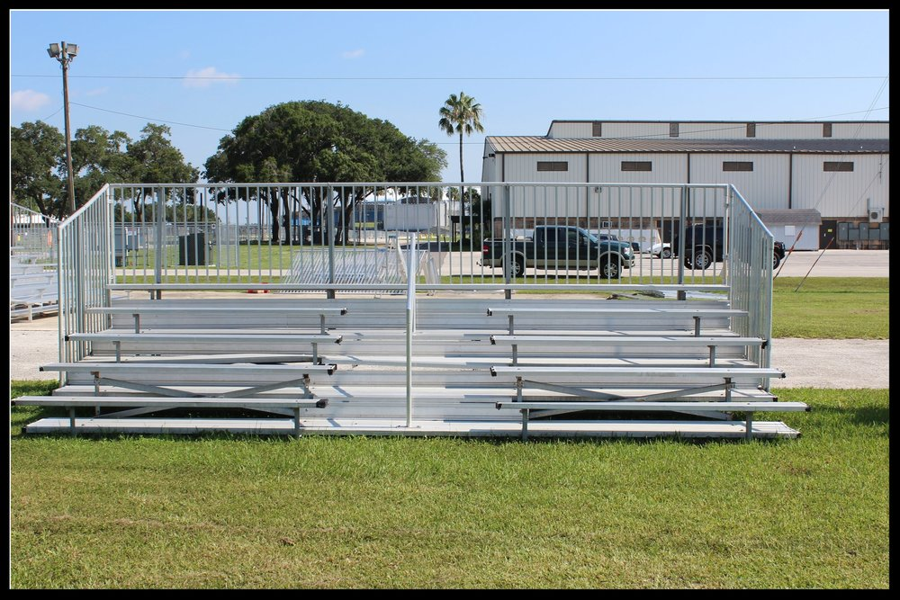 5 Row Non-Elevated Aluminum Bleachers (w/ aisle)   Click here for free, printable CAD drawings!