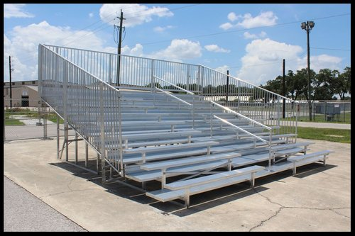 10 Row Non-Elevated Aluminum Bleacher (w/ aisle)   Click here for free, printable CAD drawings!