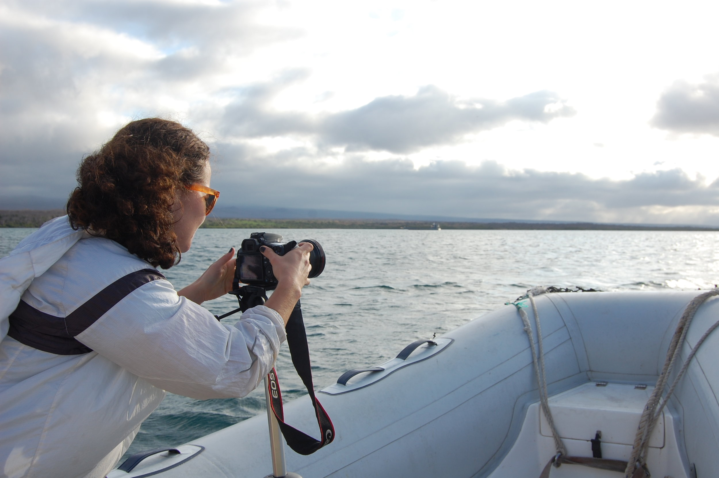 Filming during our ride to the expedition ship, the  Sierra Negra.