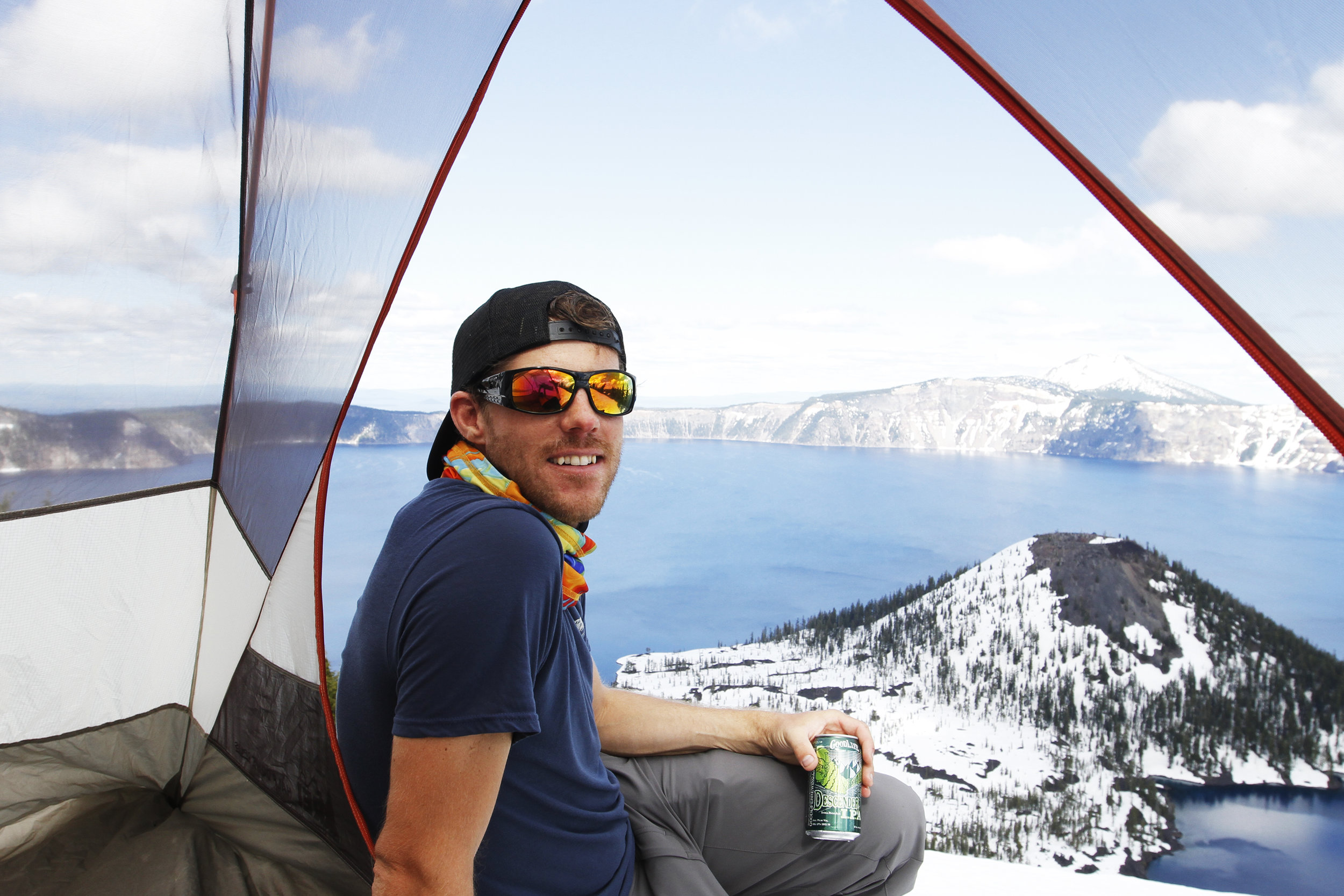 With our construction of our backcountry campsite complete, Jon enjoys a Descender IPA from Good Life Brewery.