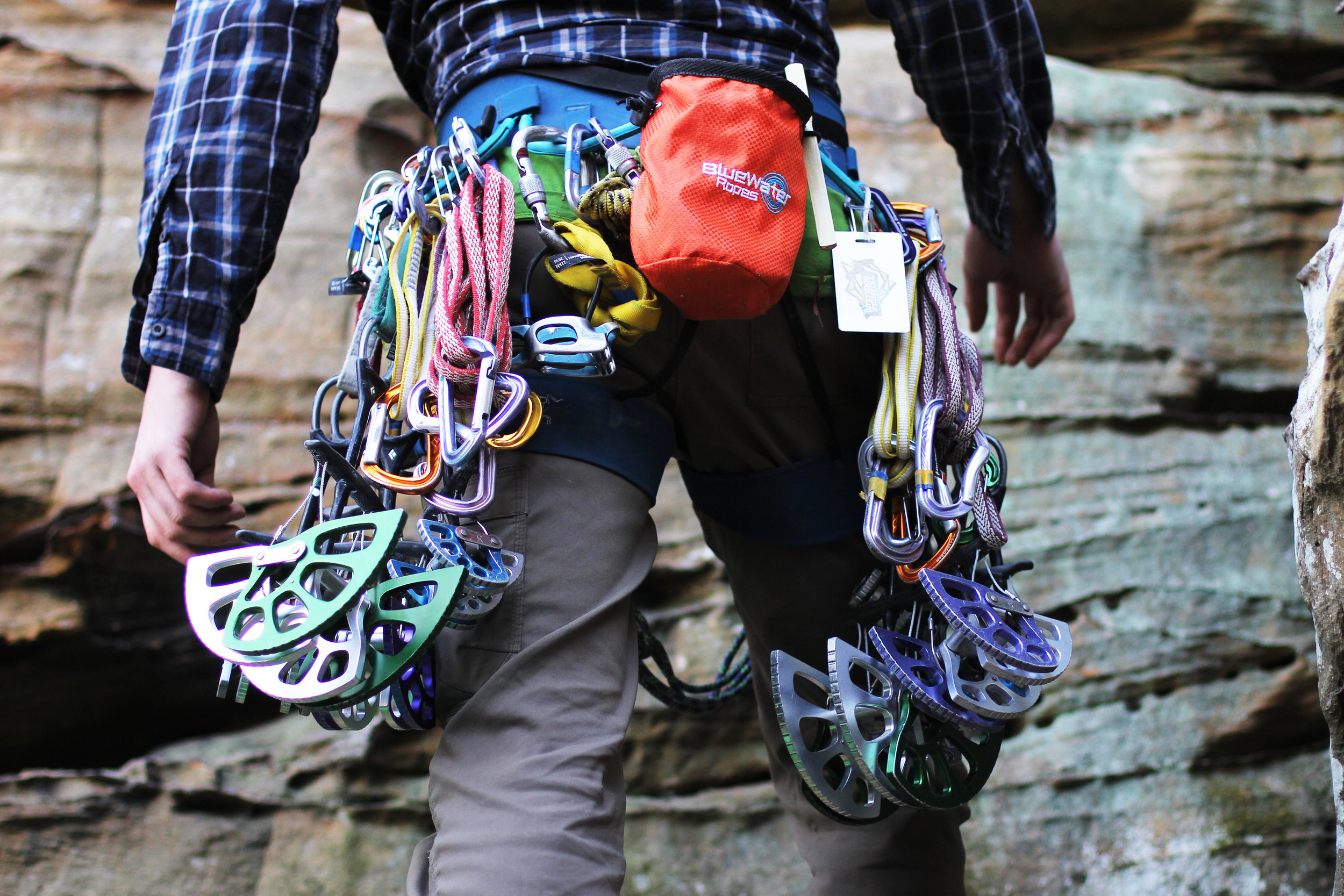 """Bryce Heckaman racks up for """"Eddy Merckx Gets a Perm"""", a 5.9- trad route    Red River Gorge, Kentucky"""