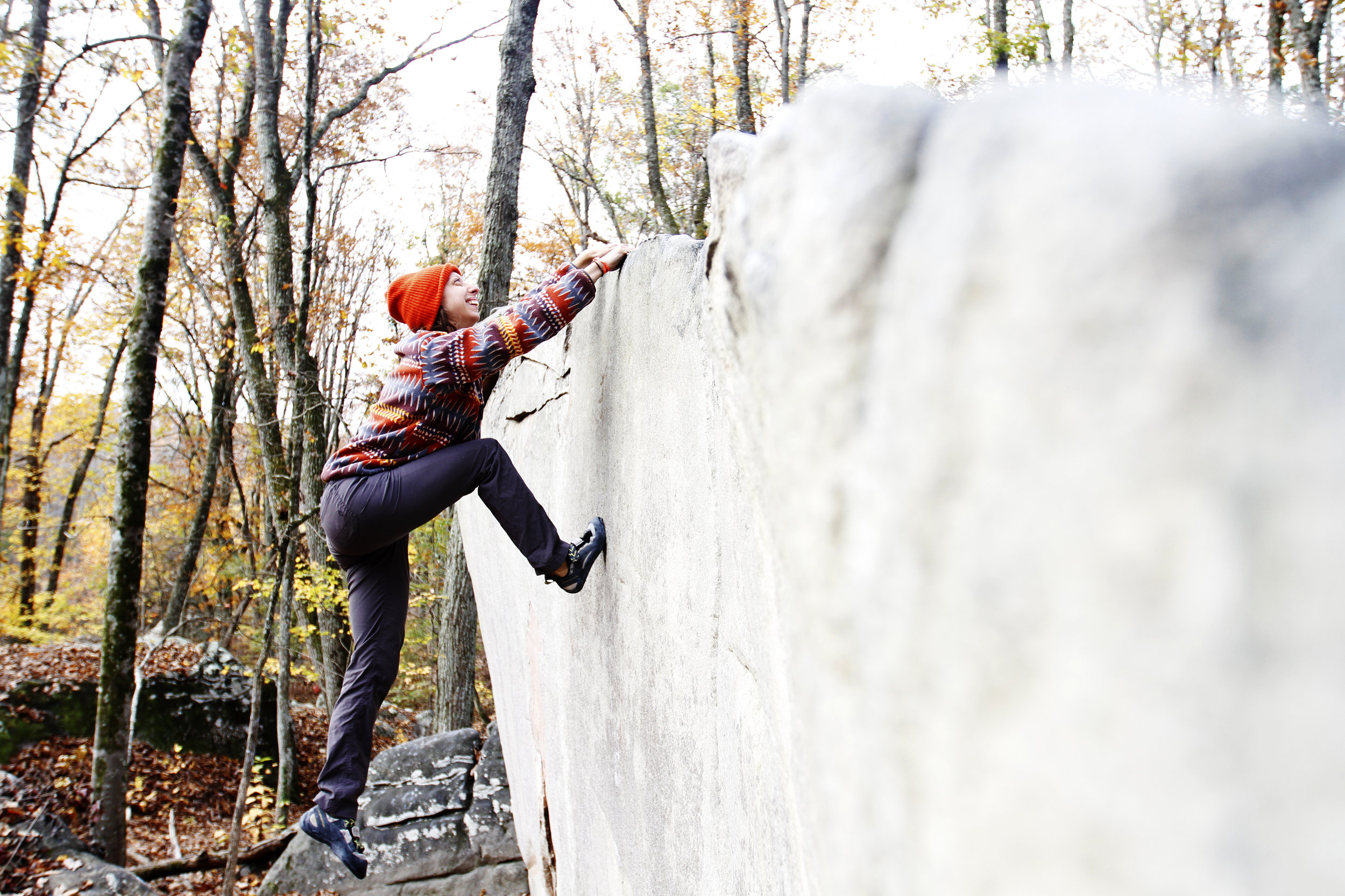 T Money laughs her way up Mizzen Mast (V1) at Stone Fort Boulders in Chattanooga, TN.