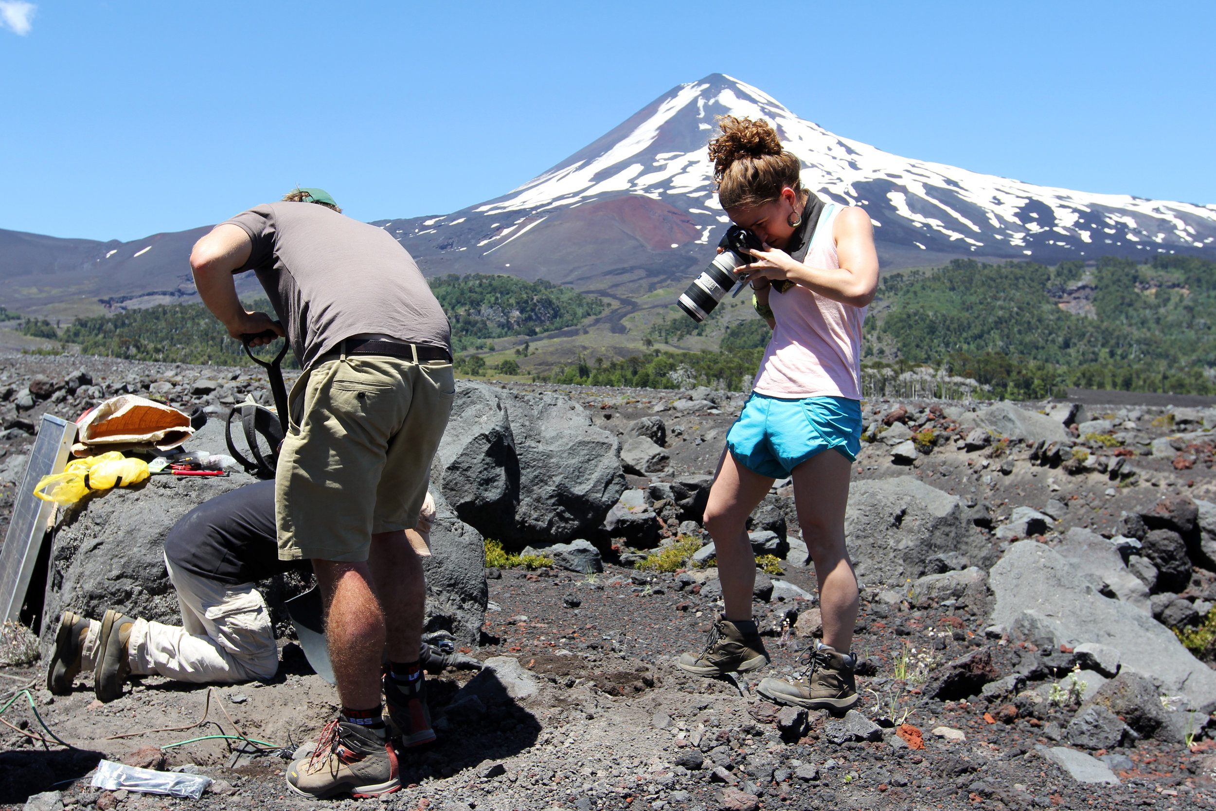 Seismometer installation on the Llaima volcano  |  Conguillo National Park, January 2015