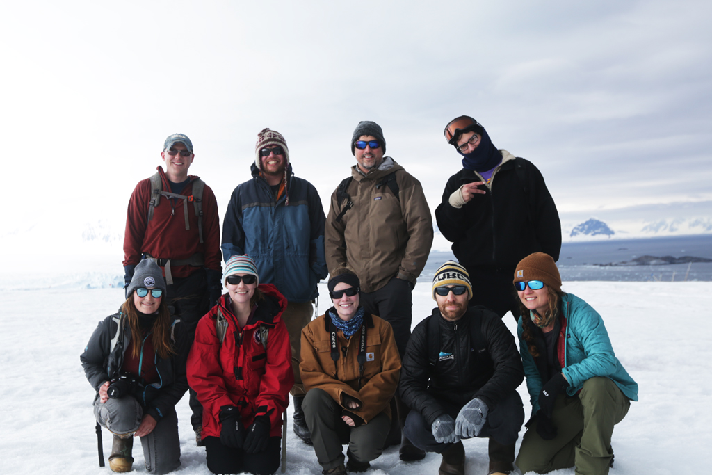 The glacier crew .  Top row (from left to right): Alex Simms, Dave Cade, Chris Taylor and Chris Garcia. Bottom row (from left to right): Emma Levy, Laura Reynolds, Julie Zurbuchen, Jeremy Goldbogen, and Mary Lide Parker.