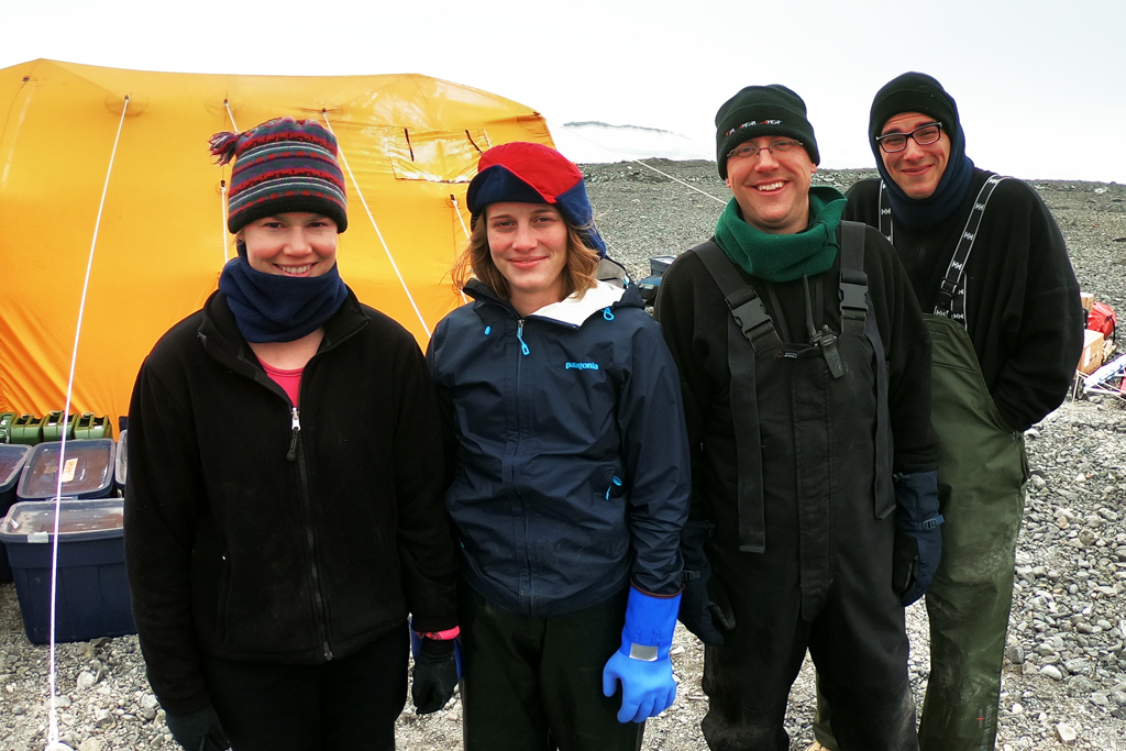 The geo team (from left to right): Laura Reynolds, Julia Zurbuchen, Alex Simms, and Chris Garcia.