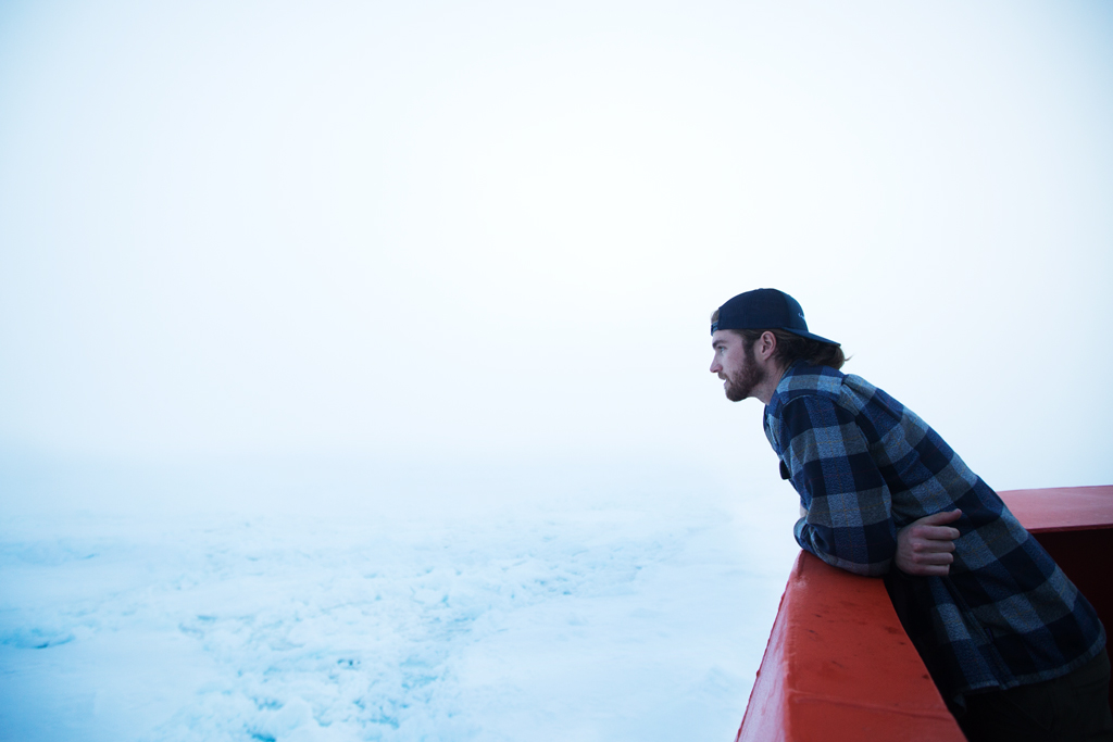 KC stares out over the vast expanse of the frozen Weddell Sea, unable to discern where the ice stops and the fog begins.