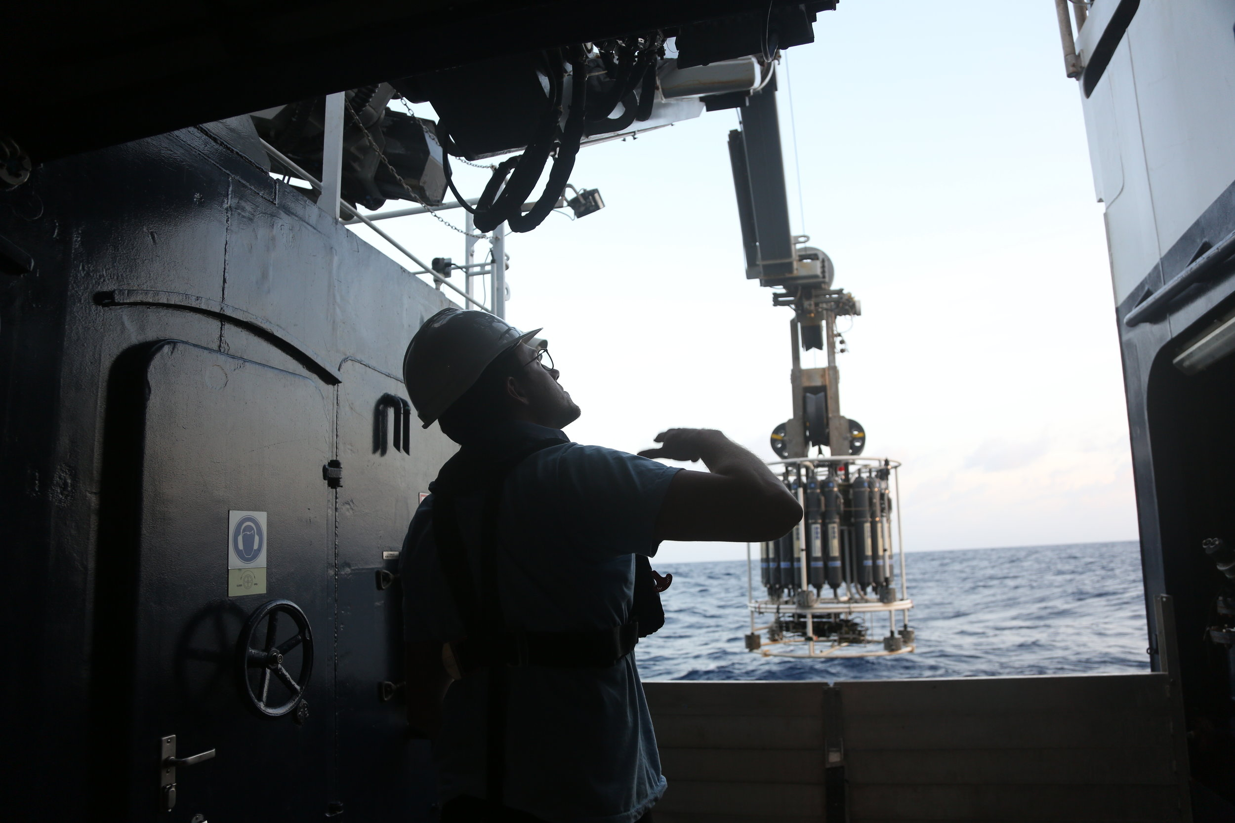 All clear.  Marine technician John Fulmer motions to lower the CTD.