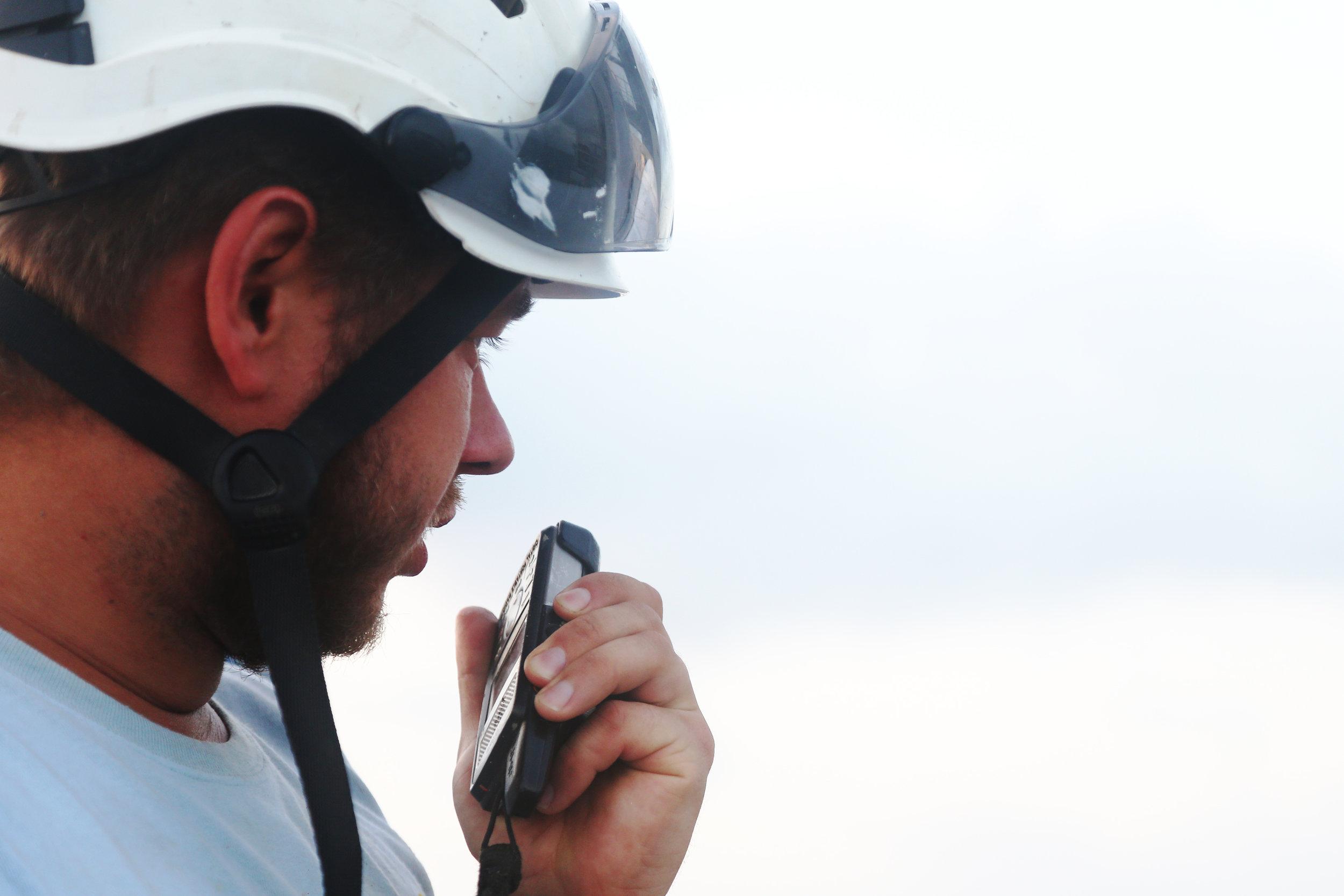 Go ahead.  Lead deckhand Michael Hans Schoenherr radios the bridge to report the CTD is in the water.