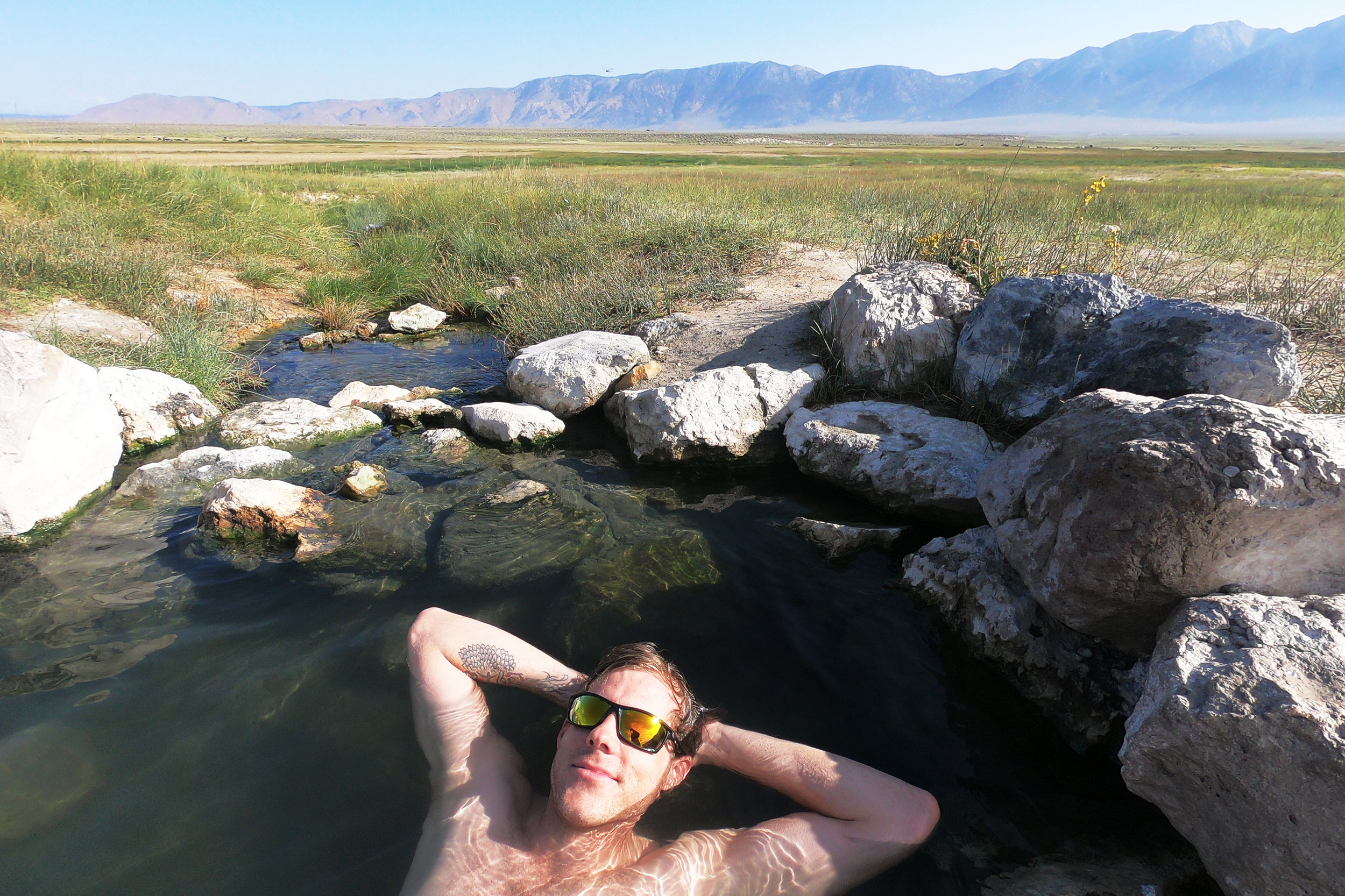 Jon relaxing in the hot springs outside of Mammath Lakes, California.