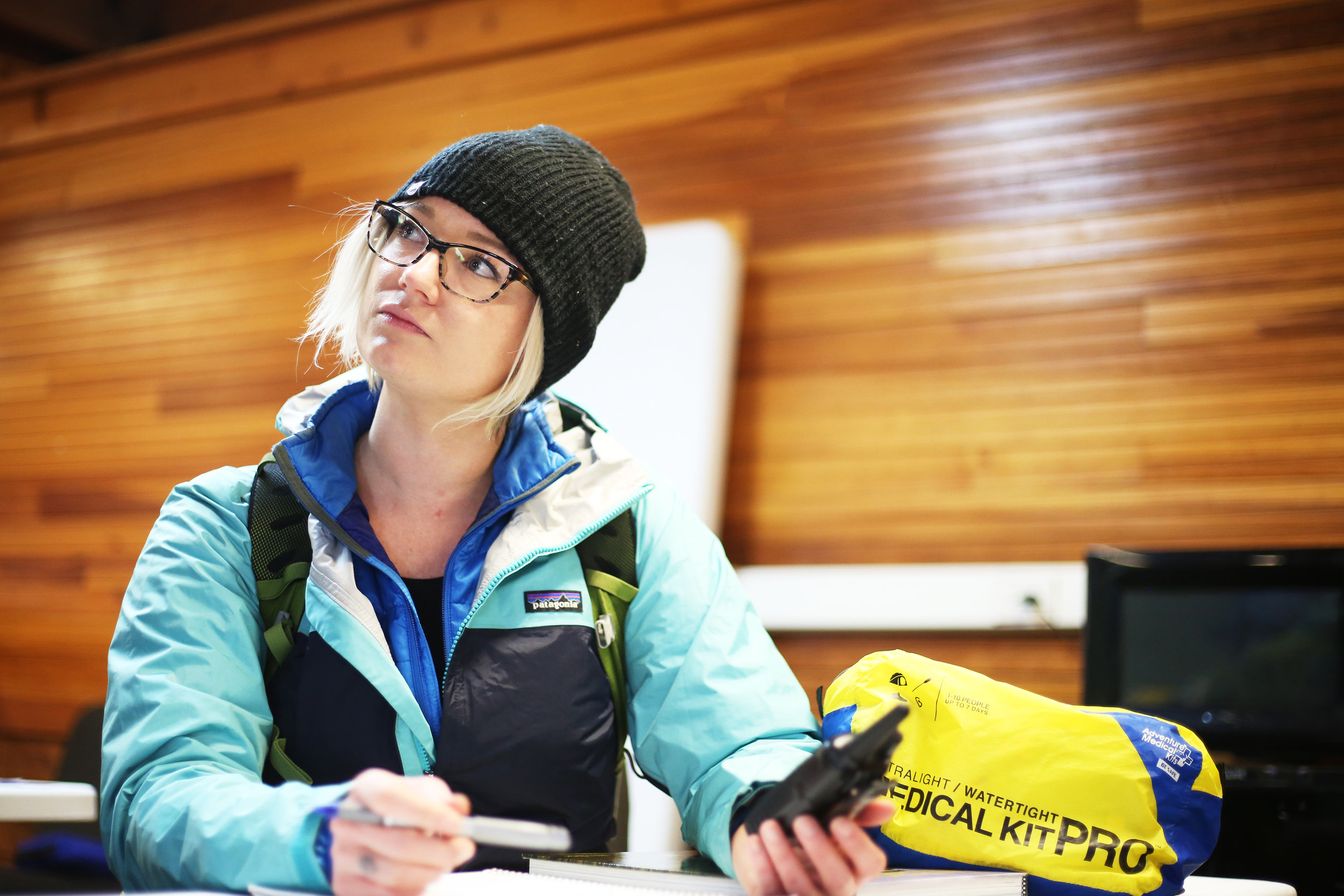 Set.  Sara, acting as the Assistant Incident Commander, takes notes and waits for the distress call over the radio.