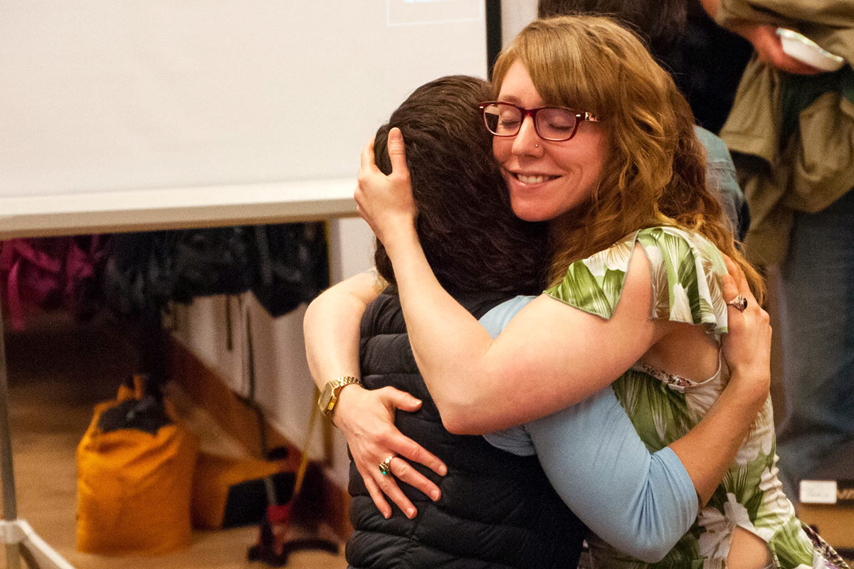 Hugging Alyssa (my former editor and dear friend) after giving a presentation on my work in Antarctica | March 2018
