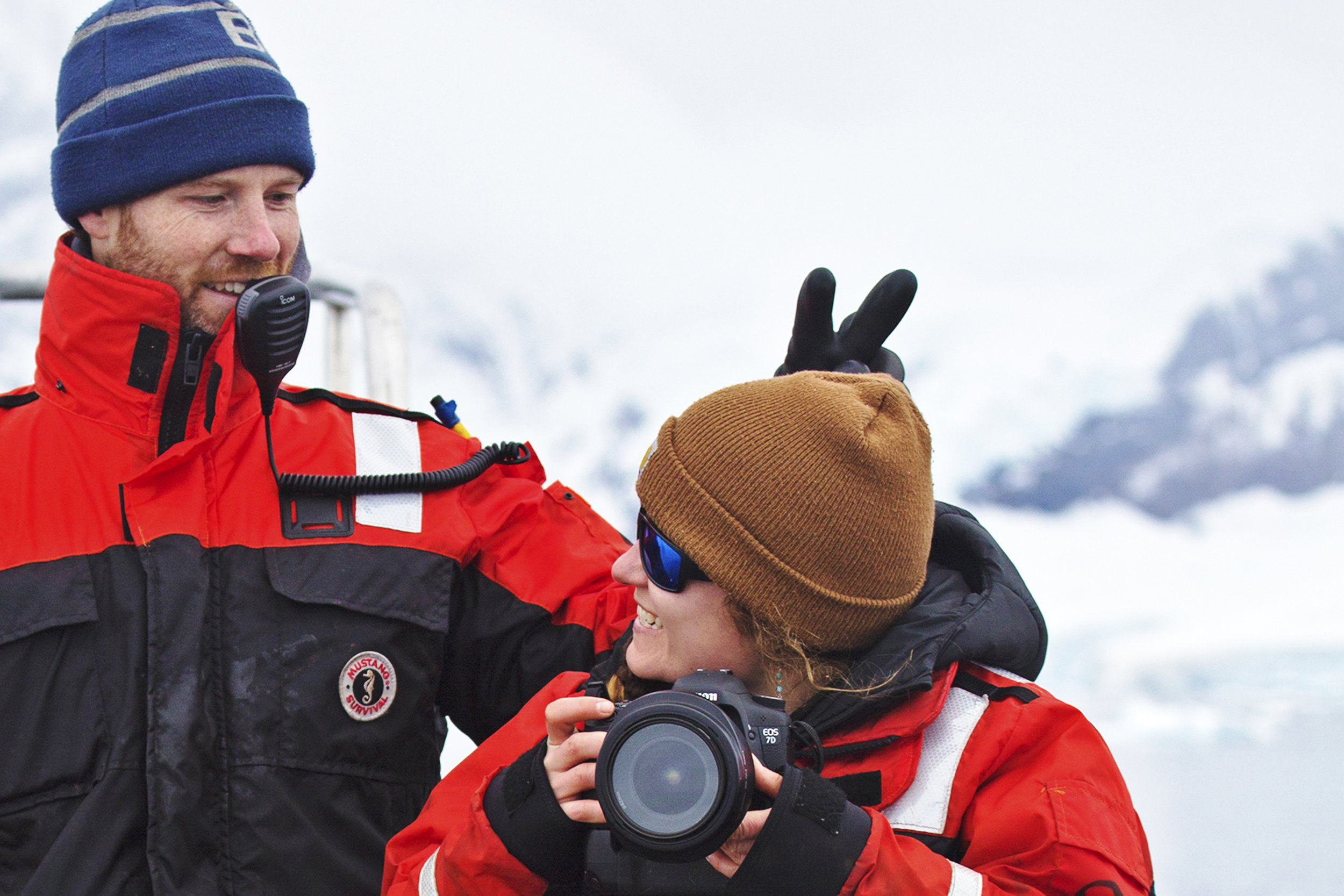 Laughing at a meddlesome marine technician while working in Antarctica.