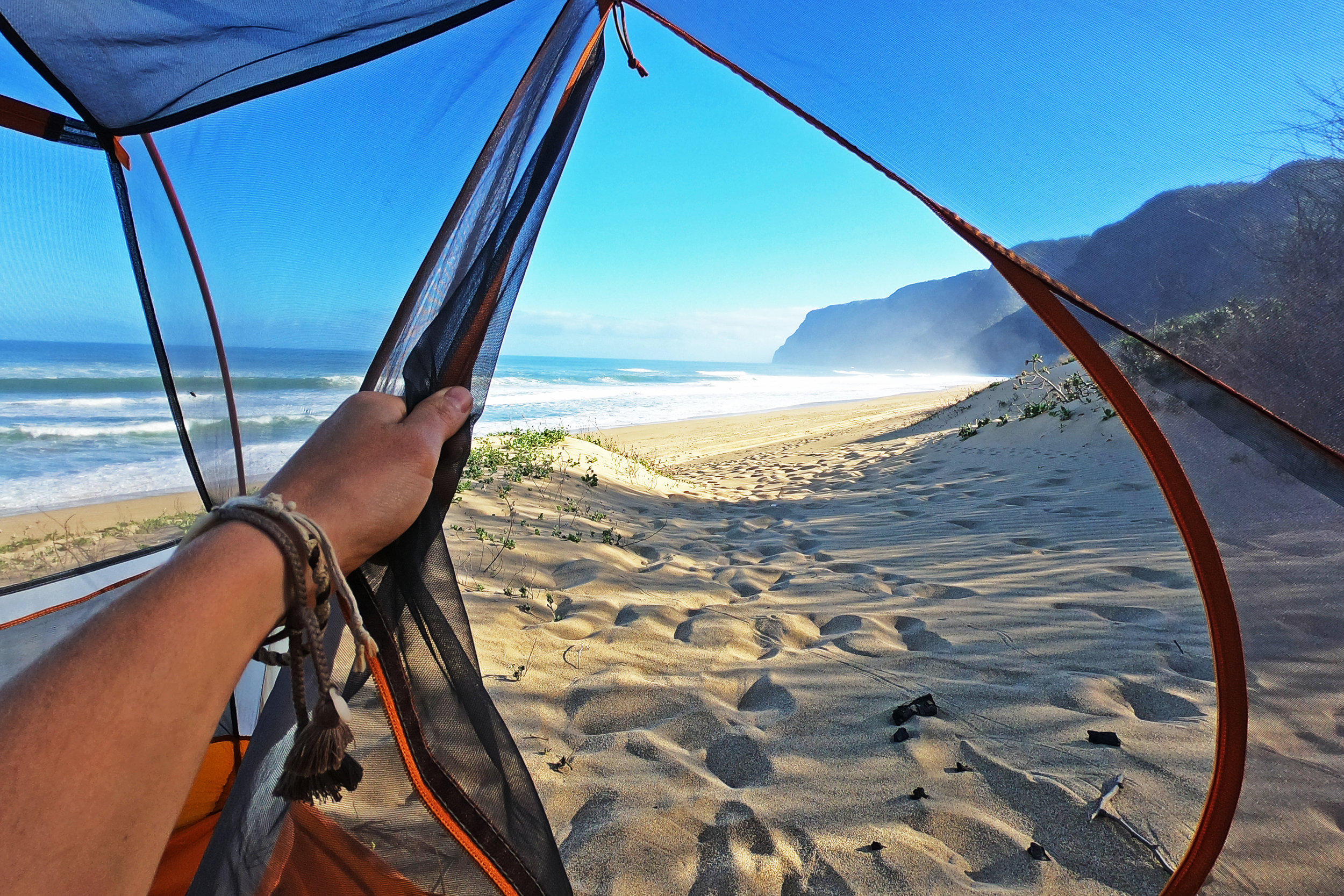 Waking up to stunning views at Polihale State Park.