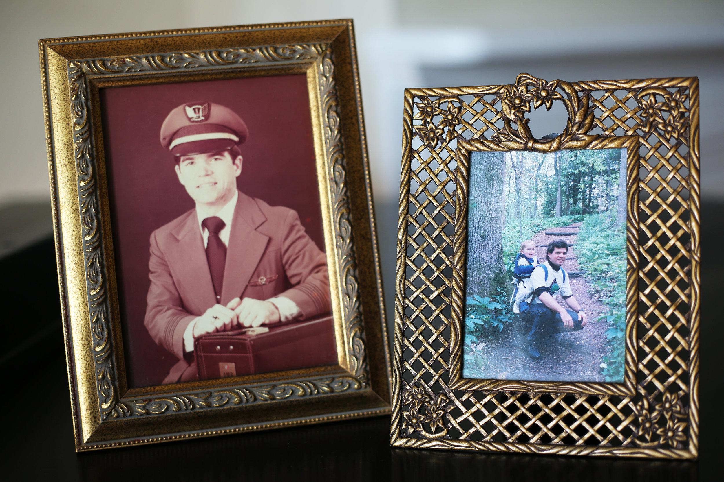 On the left: Dad's first official company photo with United Airlines, shortly after he was hired at age 24.  On the right: Dad hiking with me on his back near our first home in Knoxville, Tennessee.