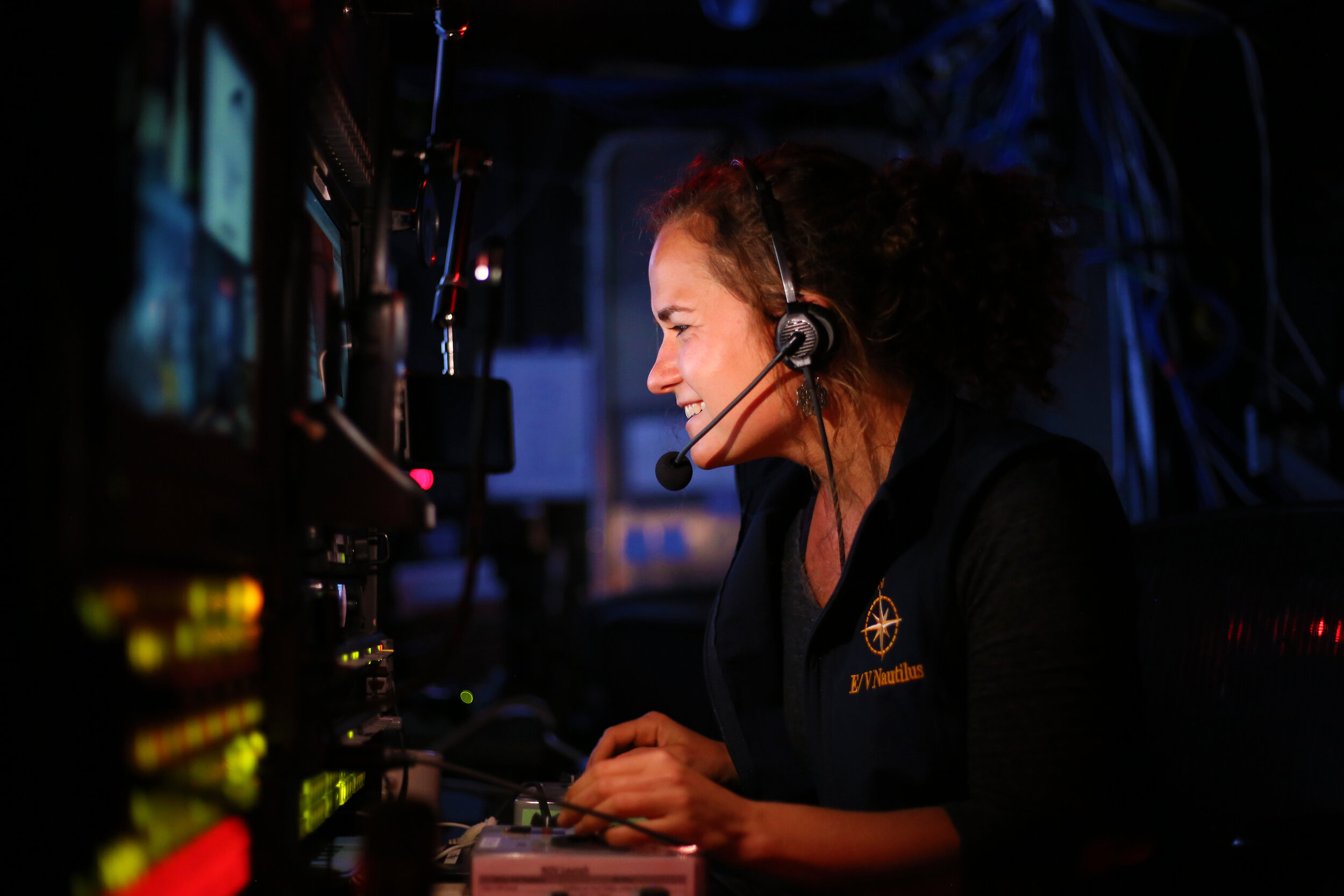 Working in the control van aboard the E/V  Nautilus .