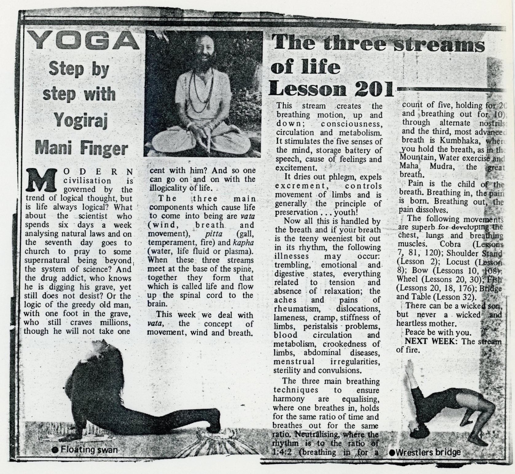 Yogiraj Mani Finger's yoga column in a Johannesburg paper