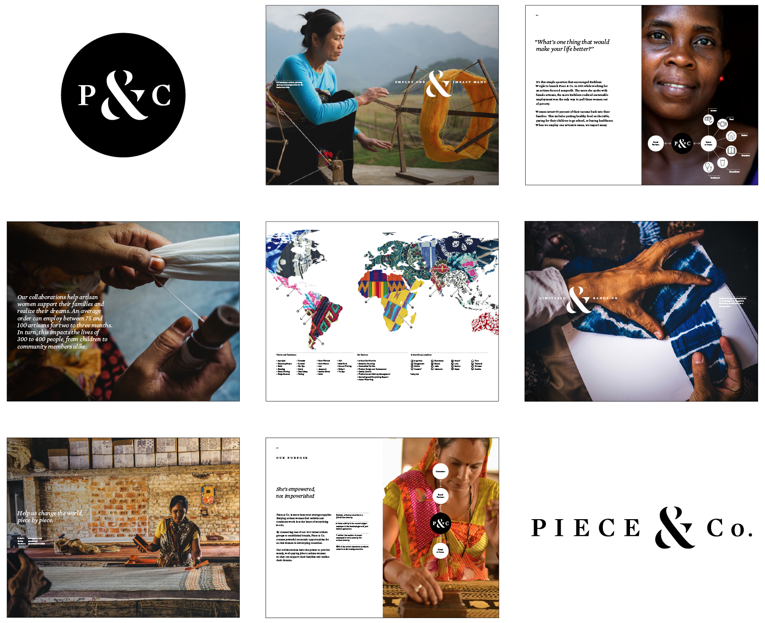 To help Piece & Co. communicate their mission of social empowerment, we partnered with them to create a brand marketing guide to facilitate conversations between staff, clients and suppliers.  Learn more  >
