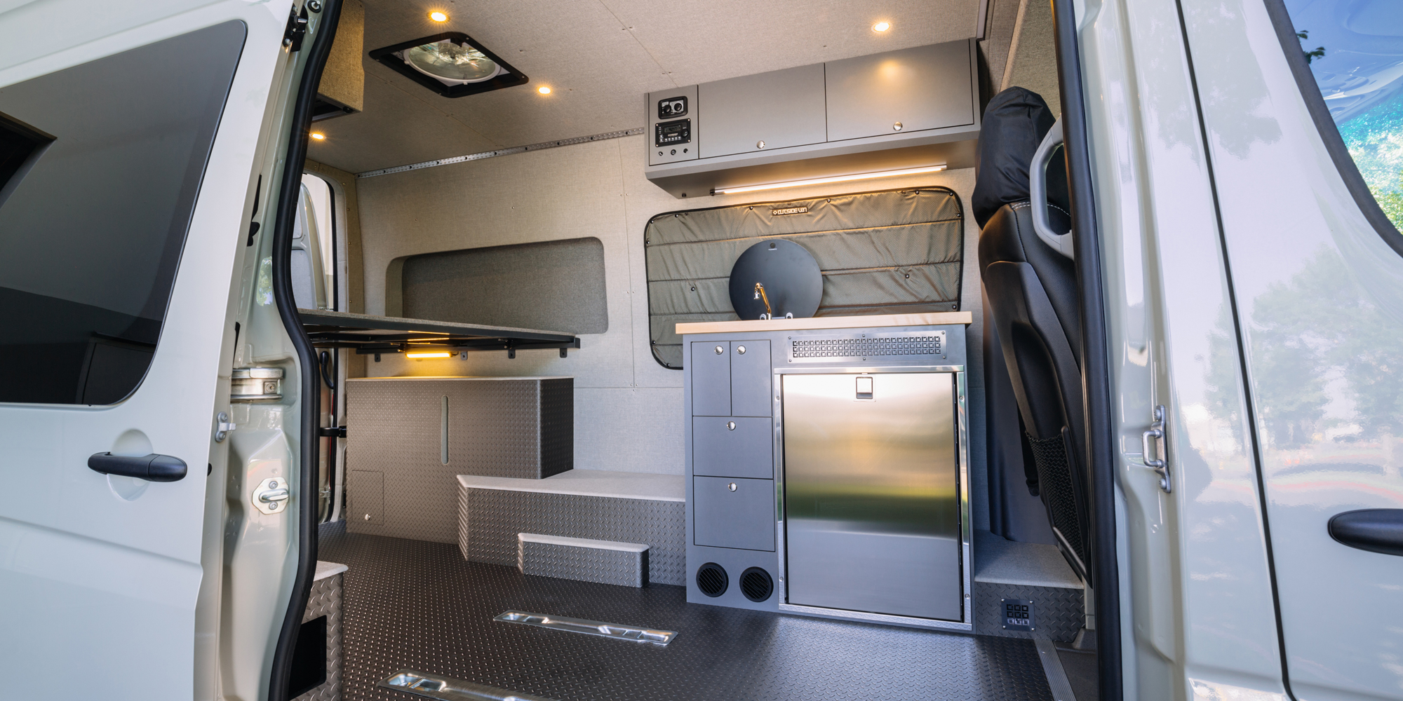 Professional installation and conversion by  Outside Van