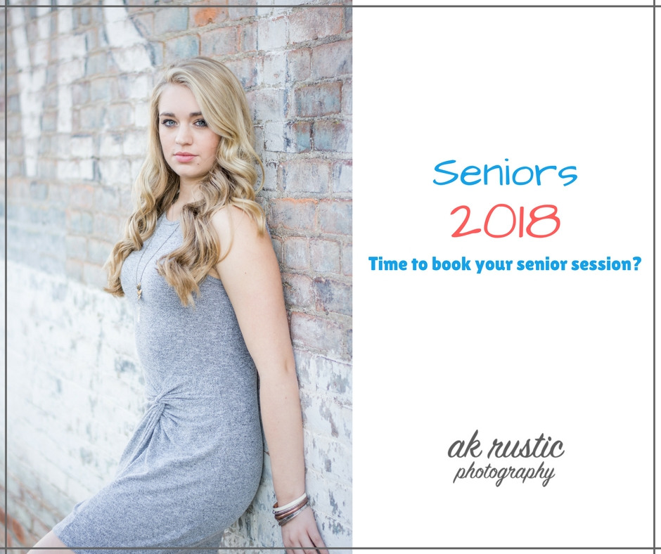 """Did you know that most seniors book their sessions while they are still juniors? Yep, it's true! With the weather so nice in the spring time, everything is green and blooming. The heat isn't too strong so you're not sweating and the bugs aren't too bad that you have to load up on bug spray. So spring really is the perfect timing for senior photos. Why your junior year? Well, it's simple, you cannot wait because you need to submit your photos in time for the yearbook and graduation invites.  The best time to book is February if you want photos done for the spring or early summer months. Most evenings book quick and you need to book early if you want a Friday or Saturday session. Most sessions take place around 4 or 5 depending on the time of year due to the """"golden hour"""". The """"golden hour"""" the when the sun is at it's prime for outdoor photography.  We want your senior session to be one to remember so we provide a hair stylist and makeup artist to meet us at the studio 1 hour before your session at no additional cost to you! We also provide a variety of jewelry to wear during your photo shoot so all you need to focus on is your wardrobe. A little stumped with what to wear? We help with that too! With AK Rustic Photography, you get the royal treatment which is why so many local seniors love working with us.  So if you're a 2018 senior, then contact us today through fb messenger, email, text or phone call so we can get your perfect day booked!"""