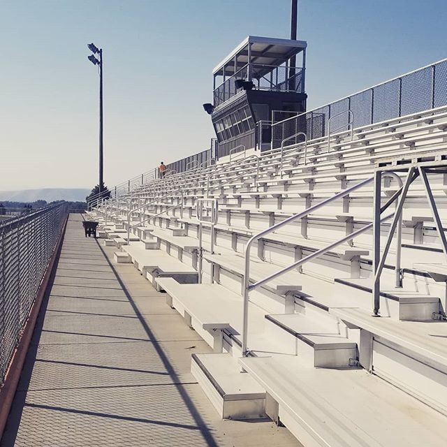Getting the new grandstands ready for those Friday Night Lights!