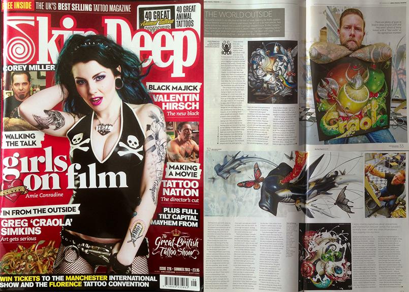 "July 2013 - Skin Deep Tattoo Magazine, UK – Issue 226, Greg ""CRAOLA"" Simkins"